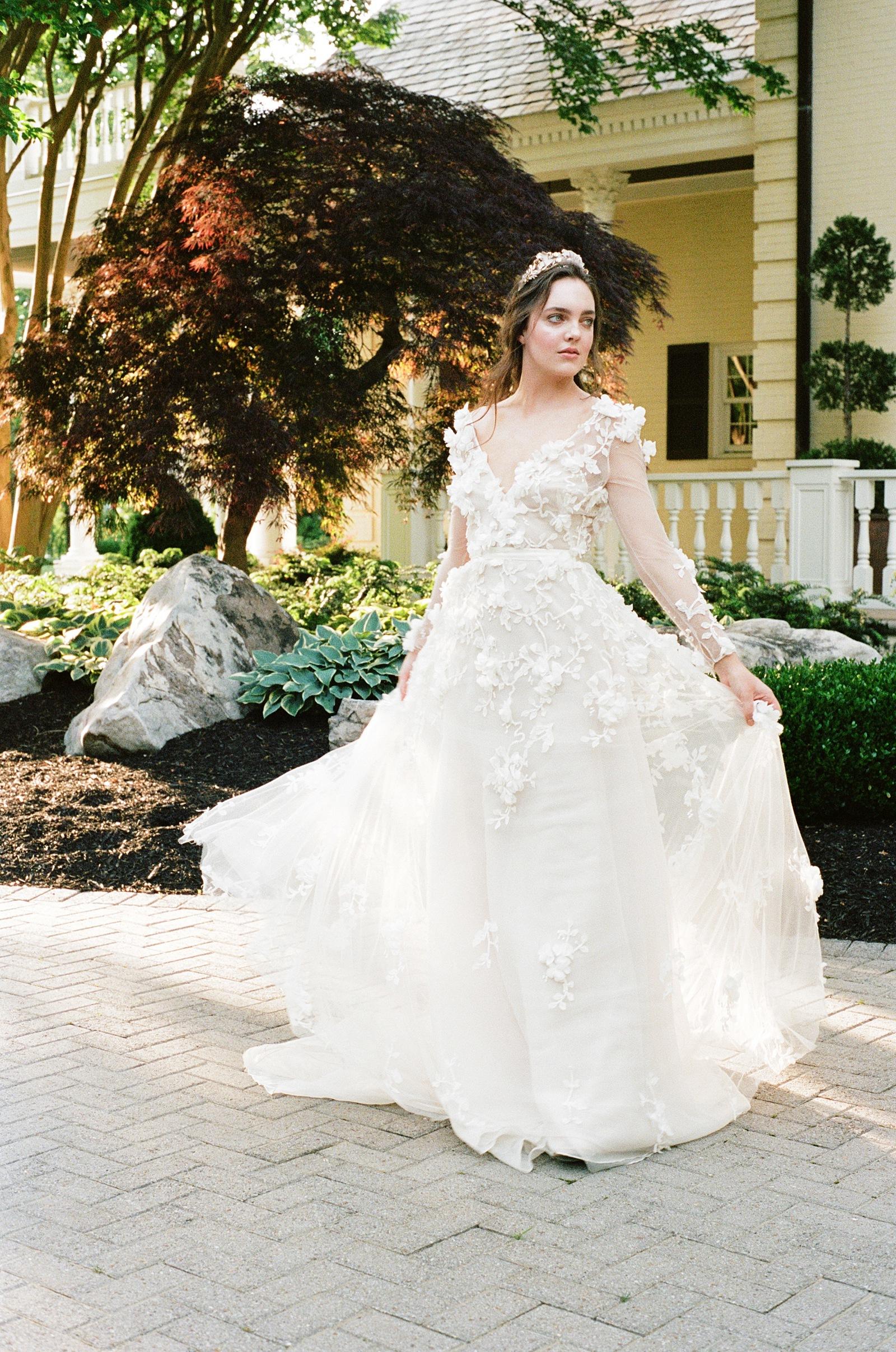 Floral applique fine art wedding dress