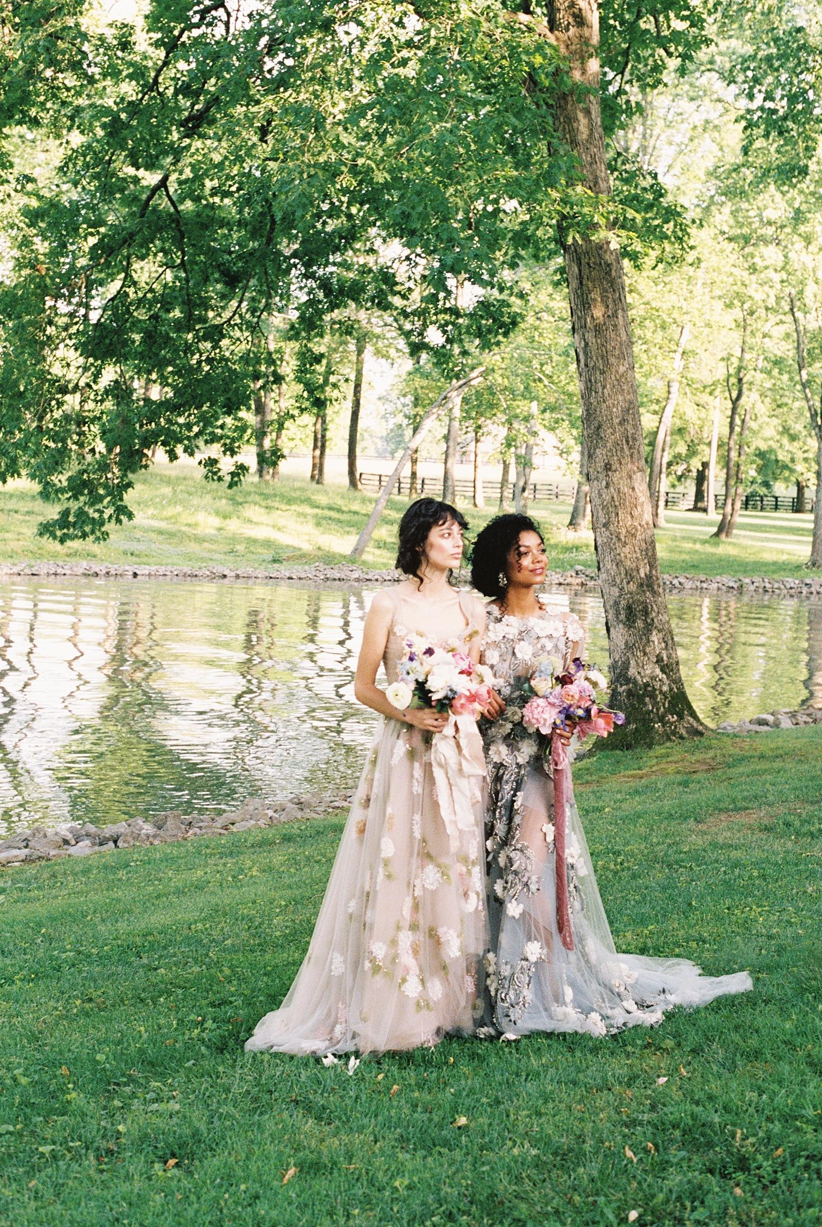 Floral bridesmaids dresses