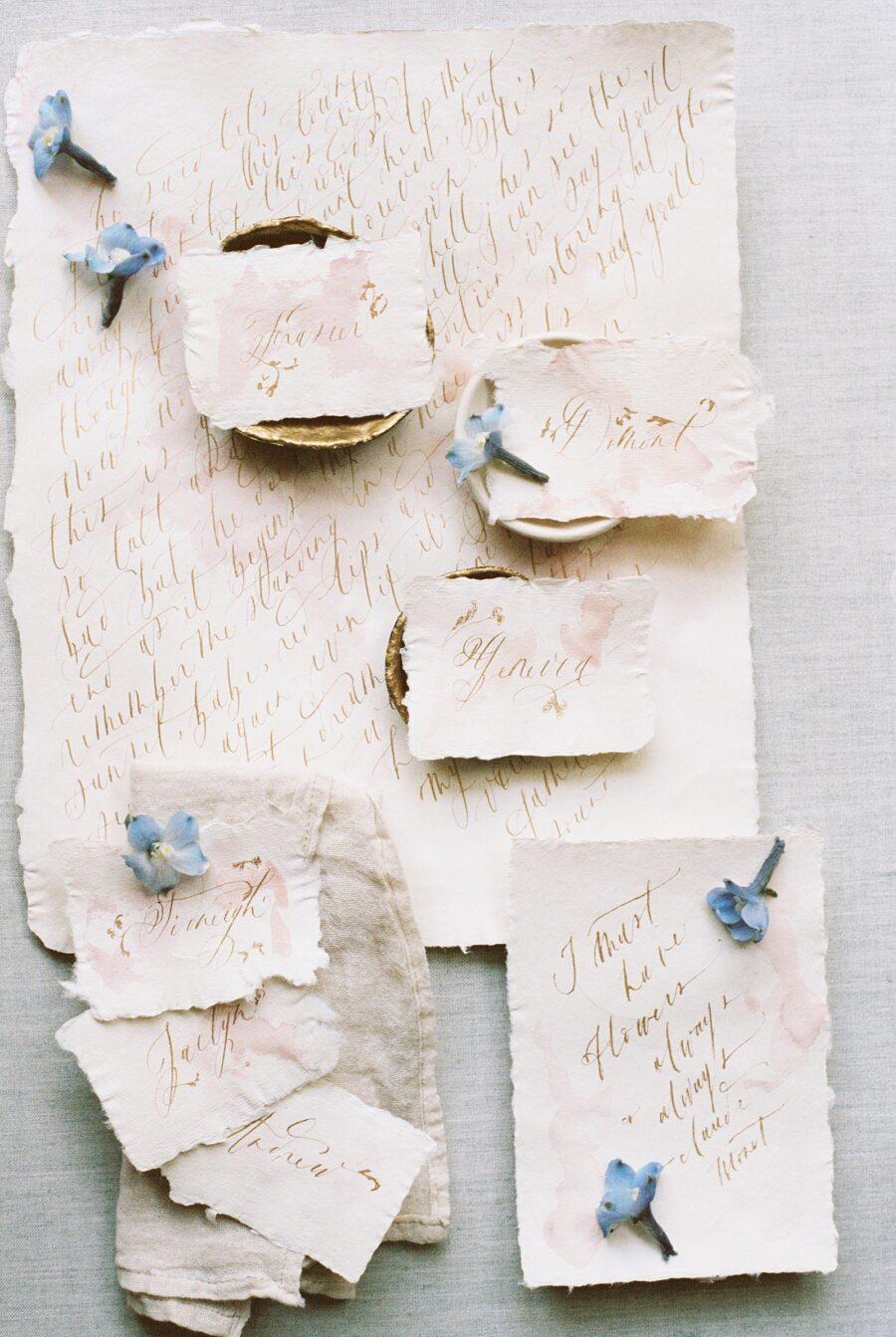 Raw edged wedding escort cards