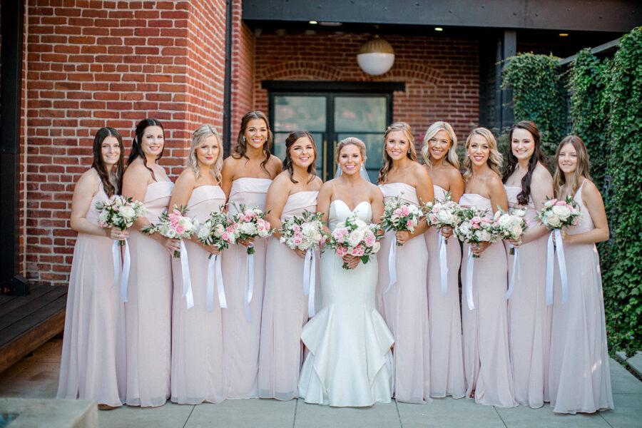 Bella Bridesmaids blush bridesmaid dresses