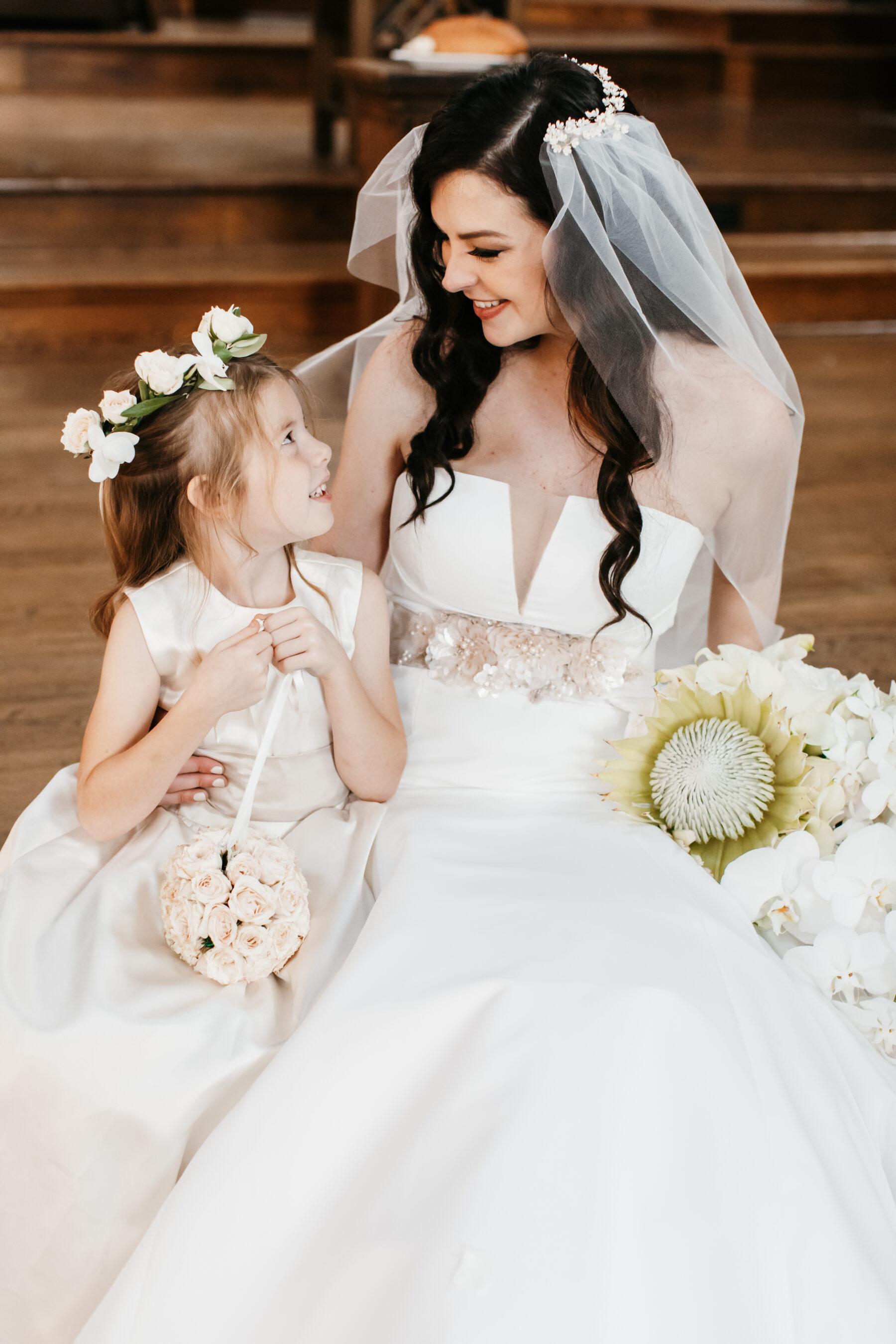 Bride and flower girl wedding portrait | Nashville Bride Guide