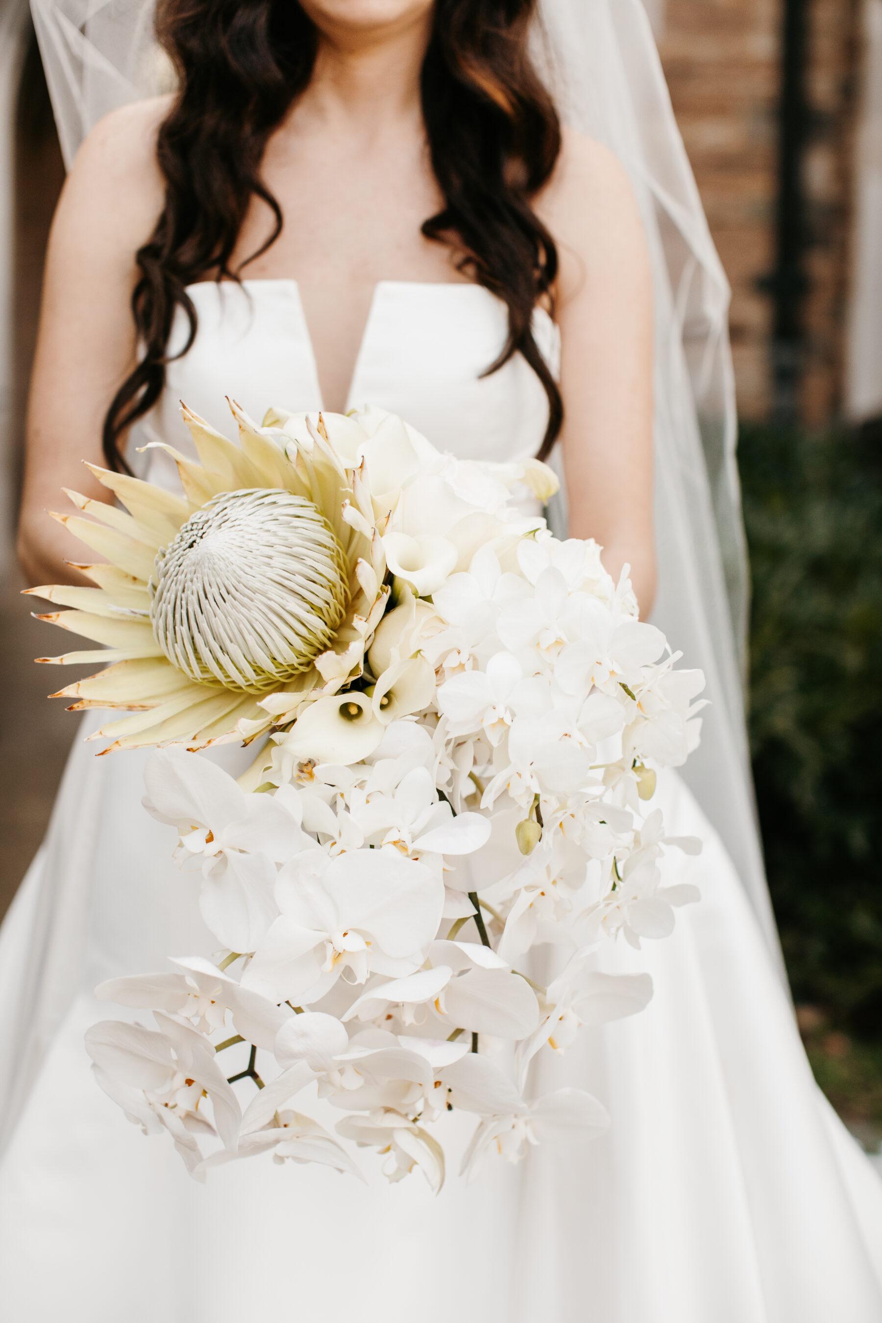 White protea wedding bouquet by LMA Designs | Nashville Bride Guide