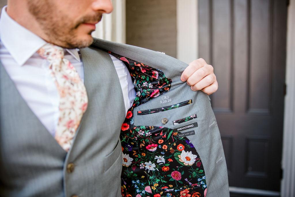 Floral Tuxedo Jacket Liner | Nashville Bride Guide