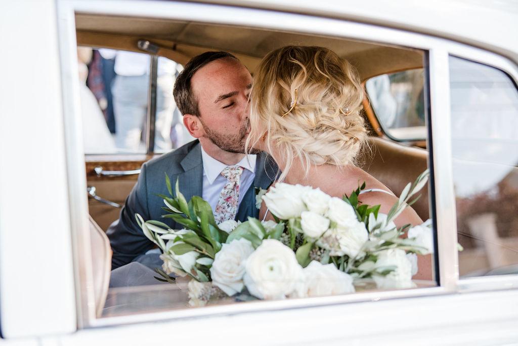 Vintage getaway wedding car portrait | Nashville Bride Guide