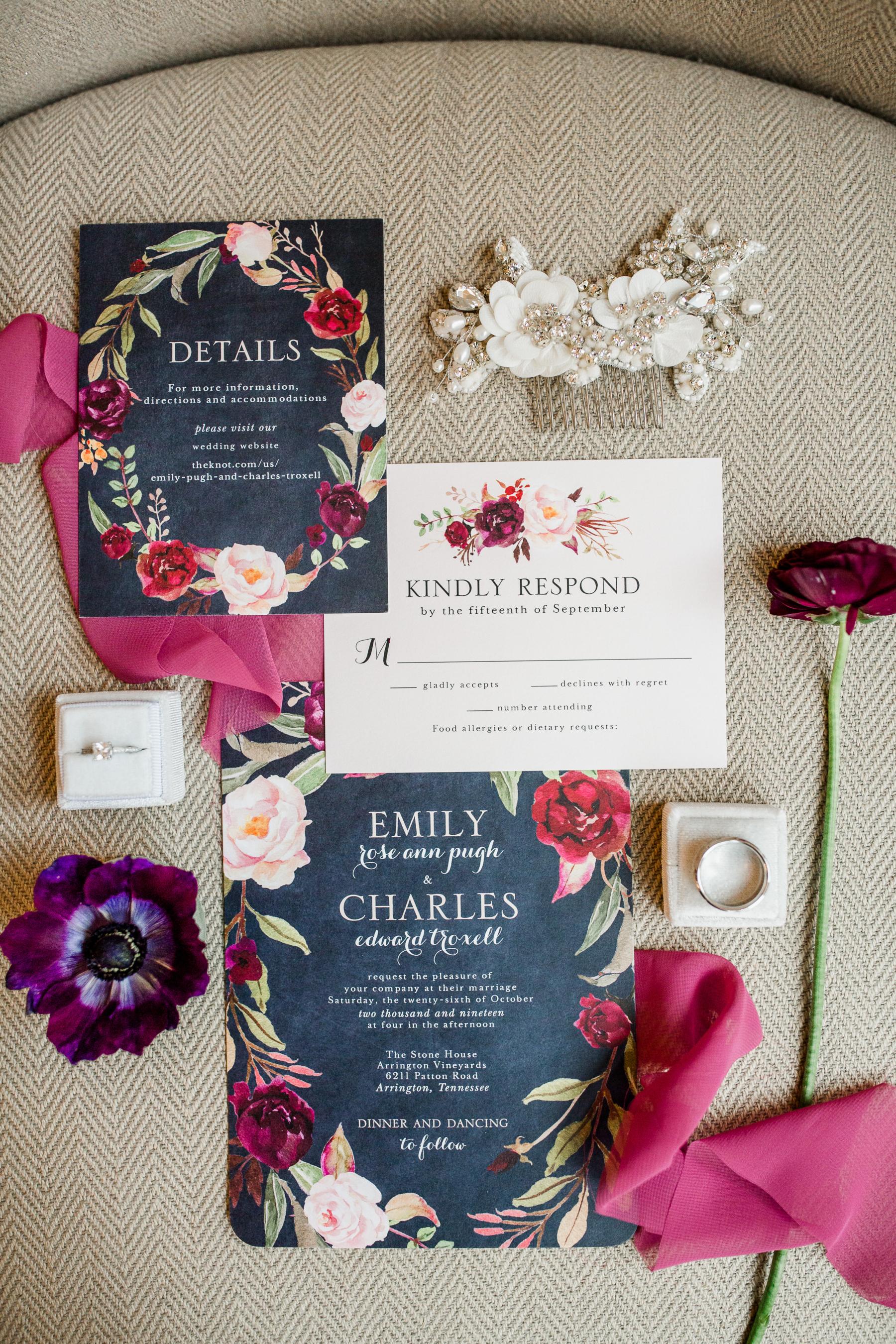 Red floral wedding invitation suite