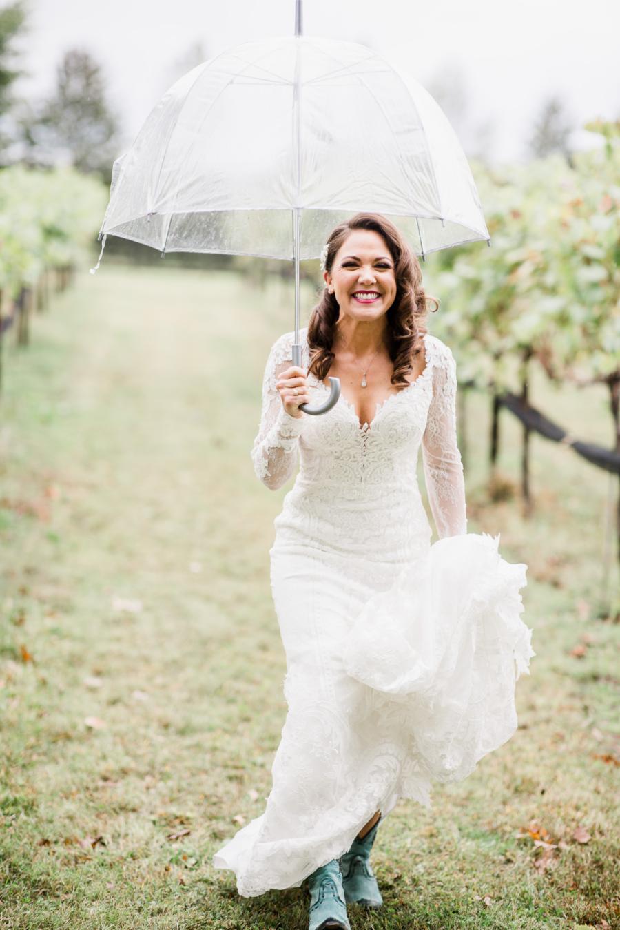 Rainy day bridal portrait