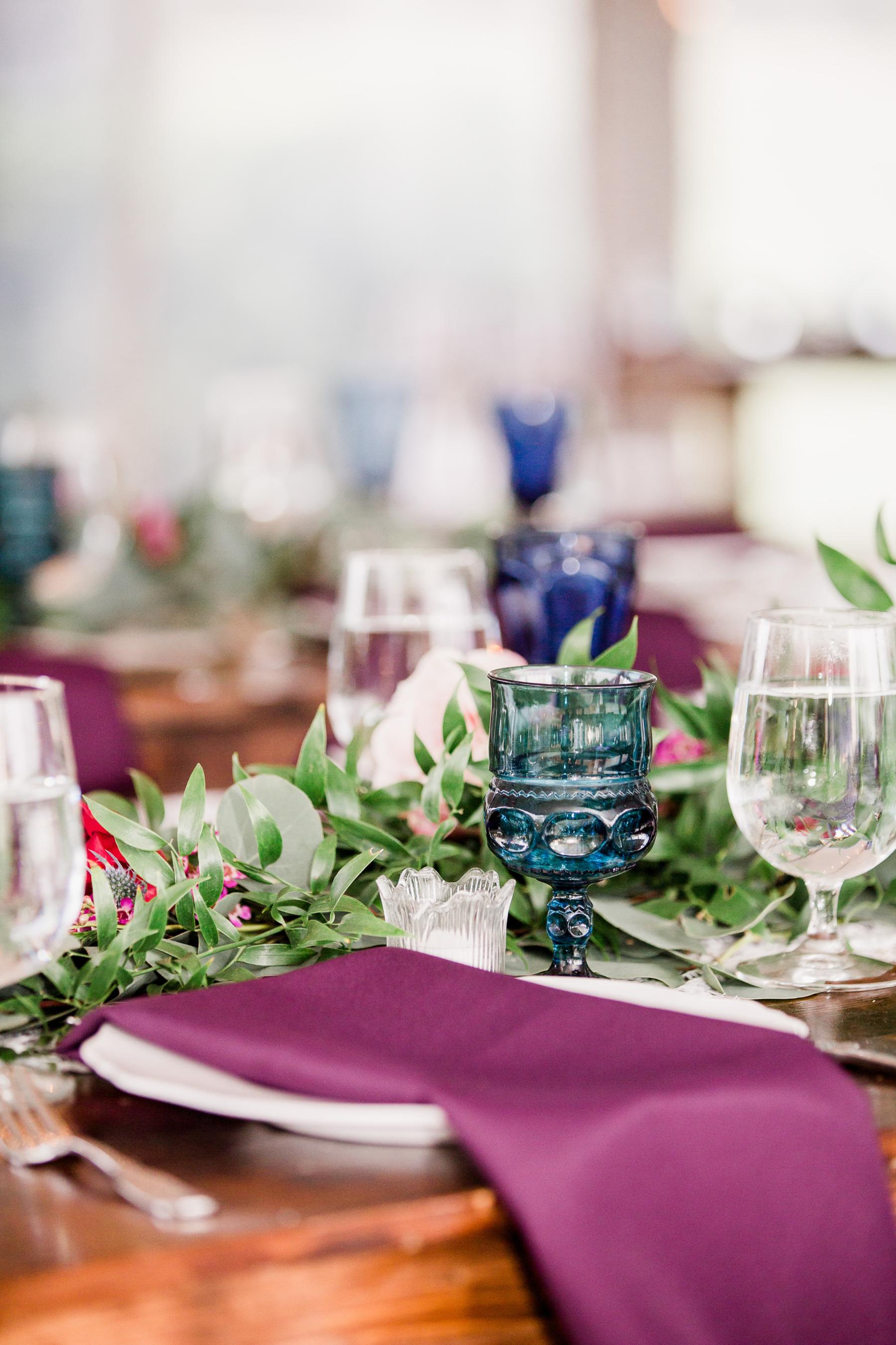 Jewel tone wedding table decor