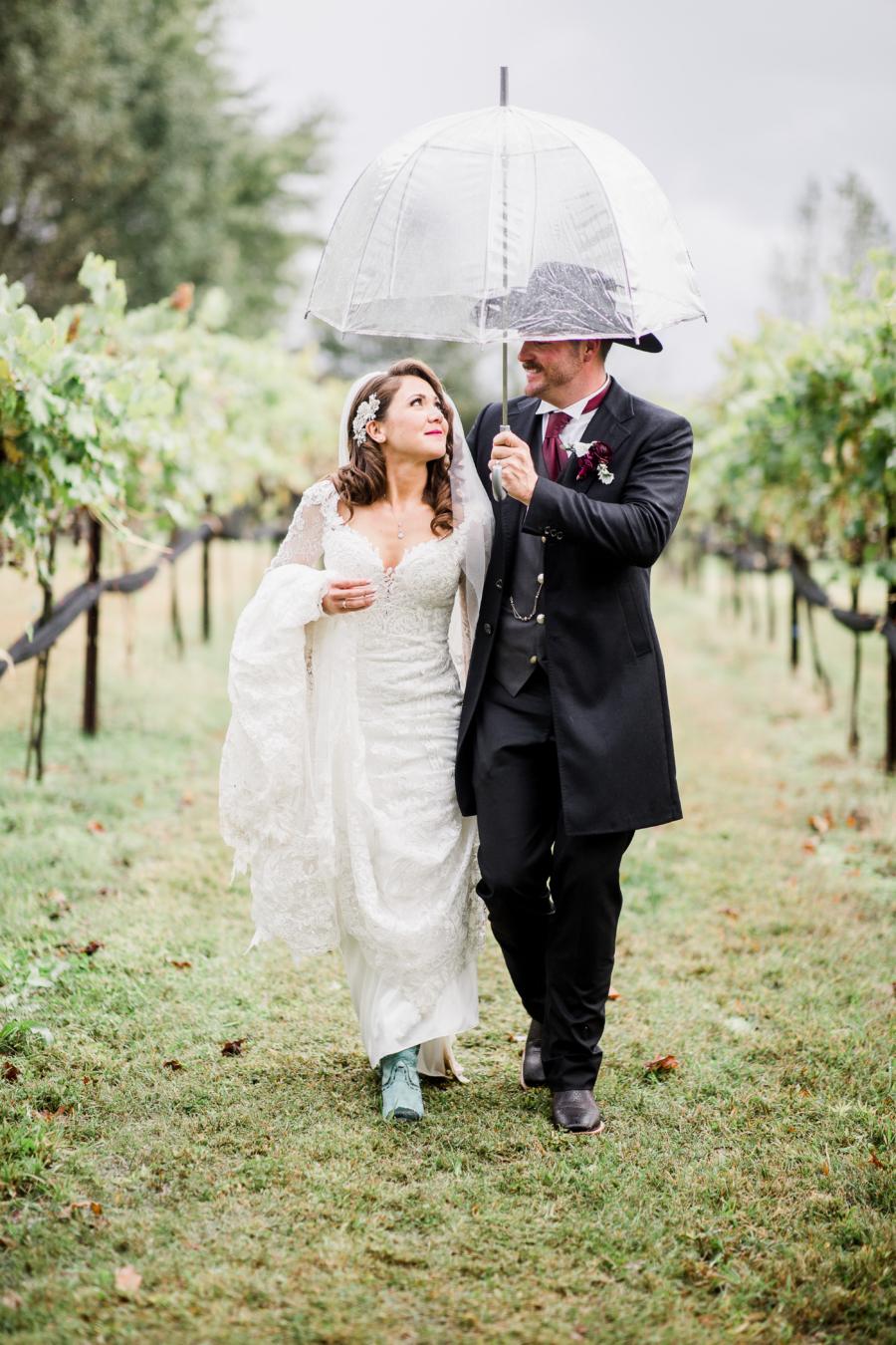 Rainy day wedding ceremony