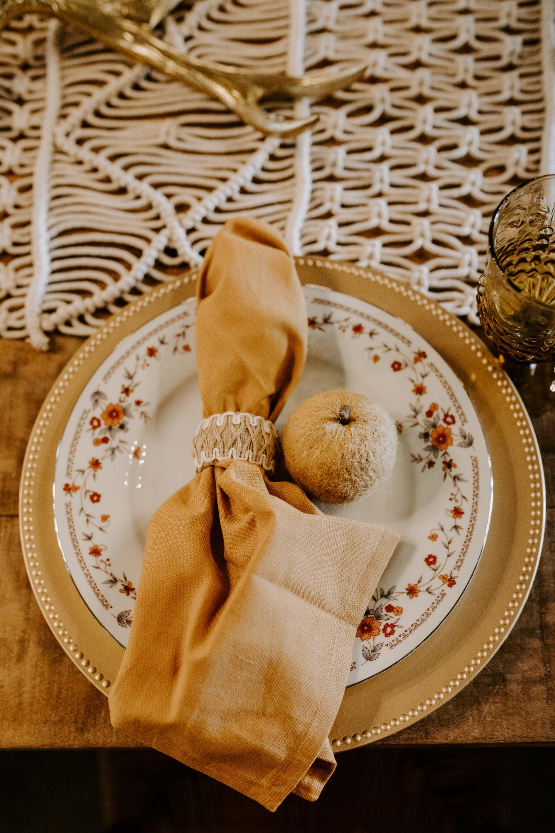 Boho wedding place setting