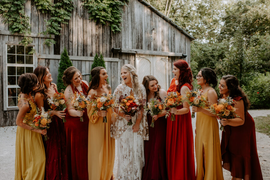 Multicolored bridesmaids dresses