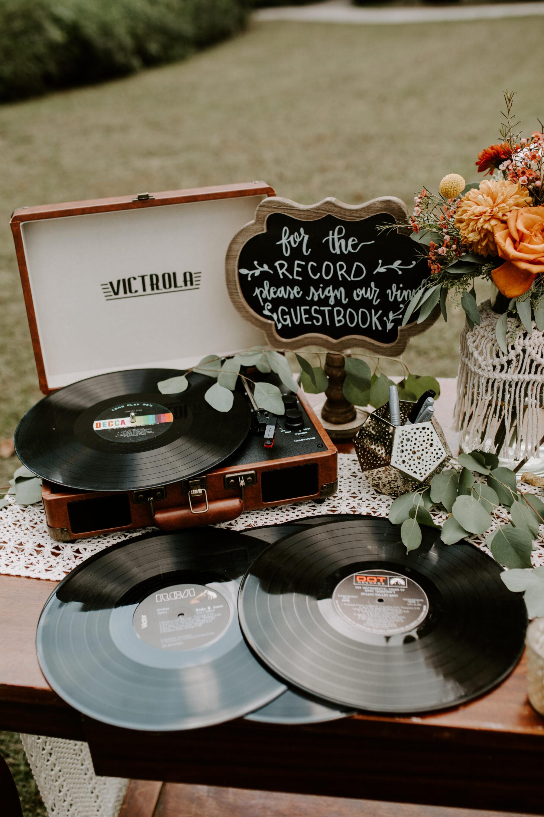 Vinyl record wedding guest book