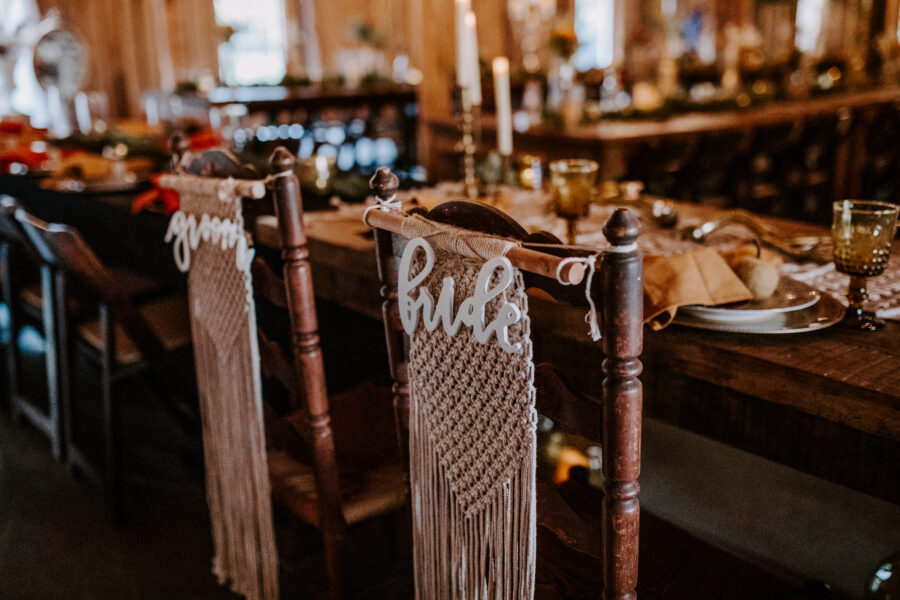 Laser cut bride and groom wedding chair signs