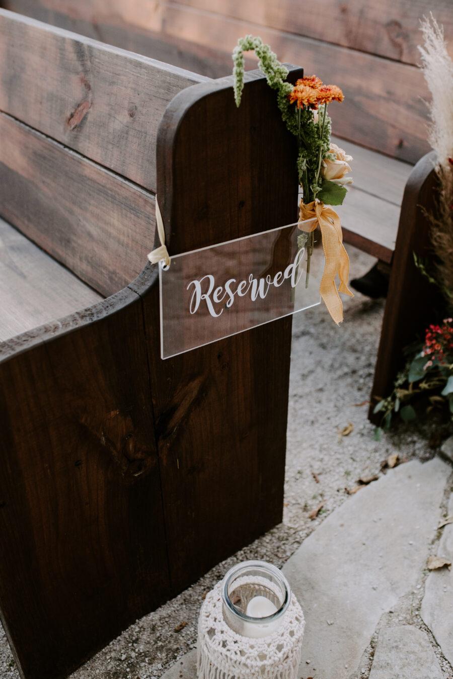 Acrylic wedding ceremony sign
