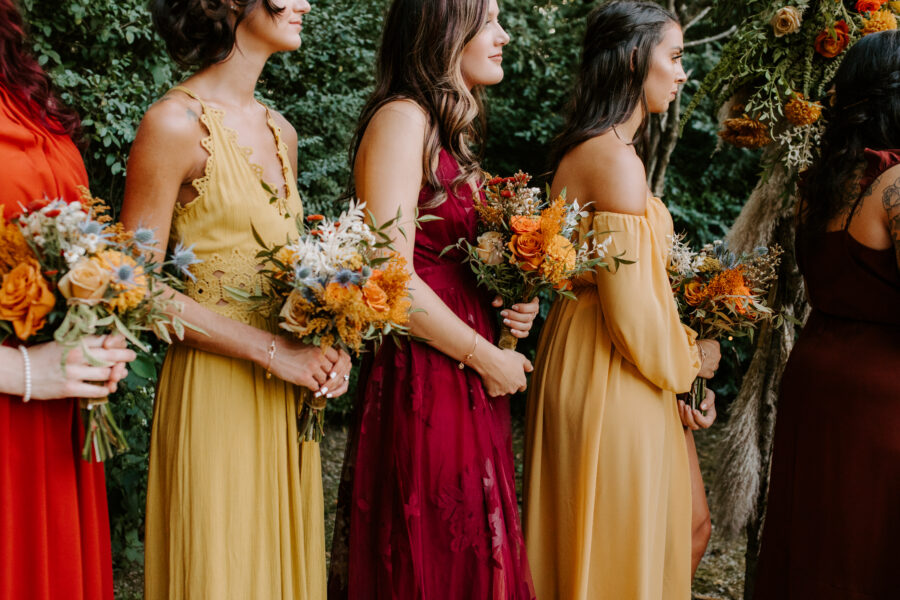 Autumn colored bridesmaid dresses