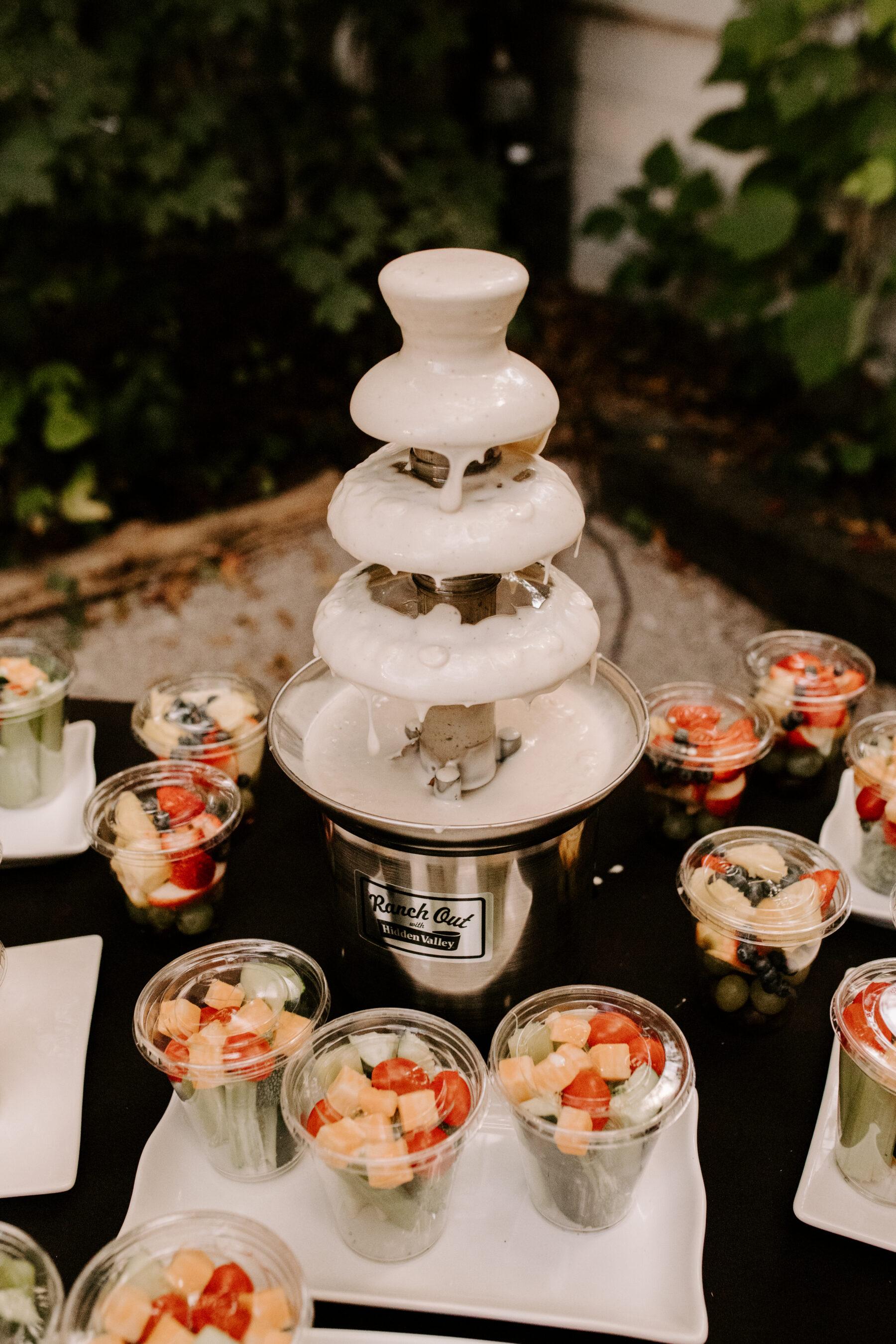 Wedding fondue fountain display