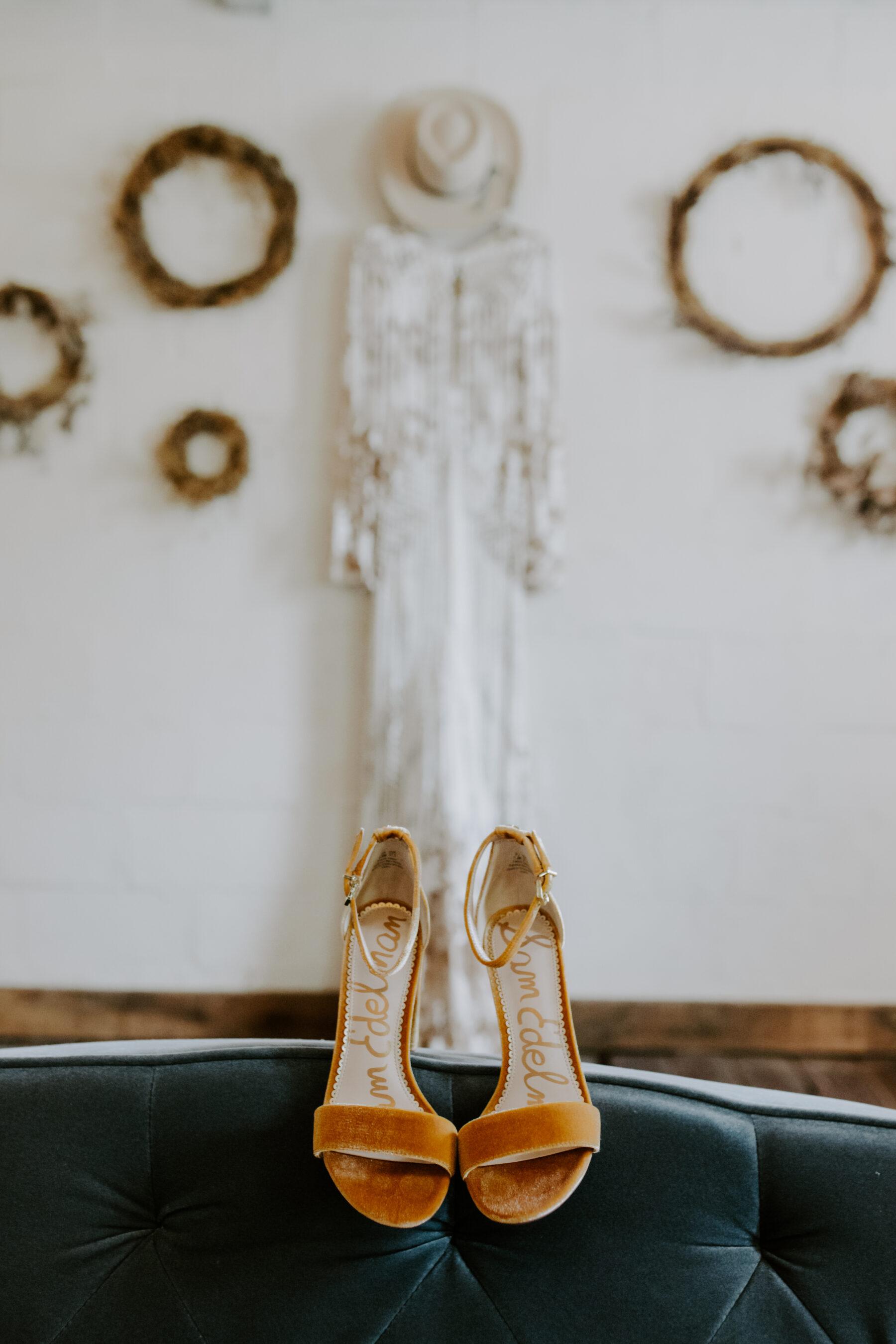 Mustard yellow Sam Edelman bridal shoes