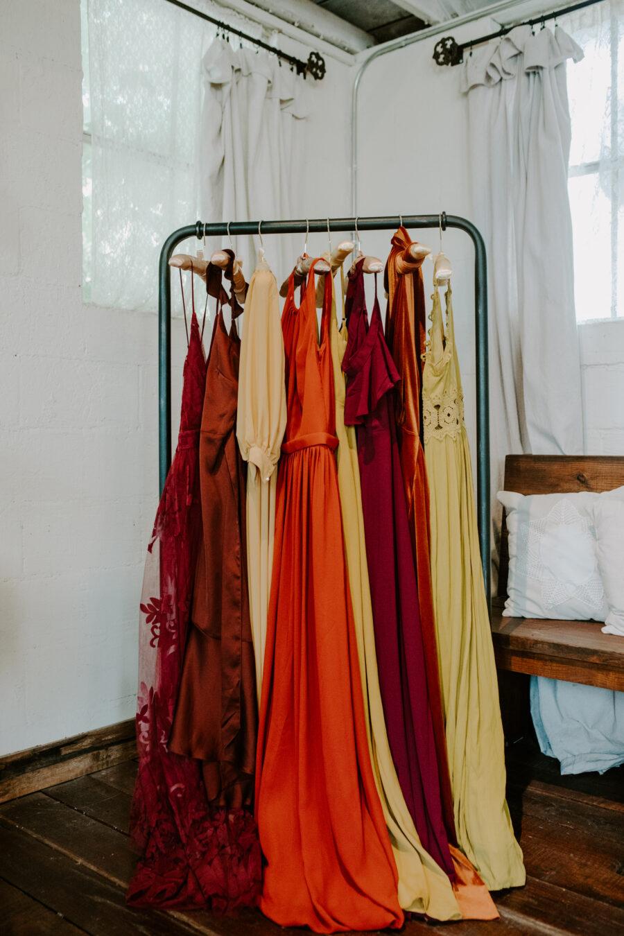 Mismatched boho bridesmaids dresses