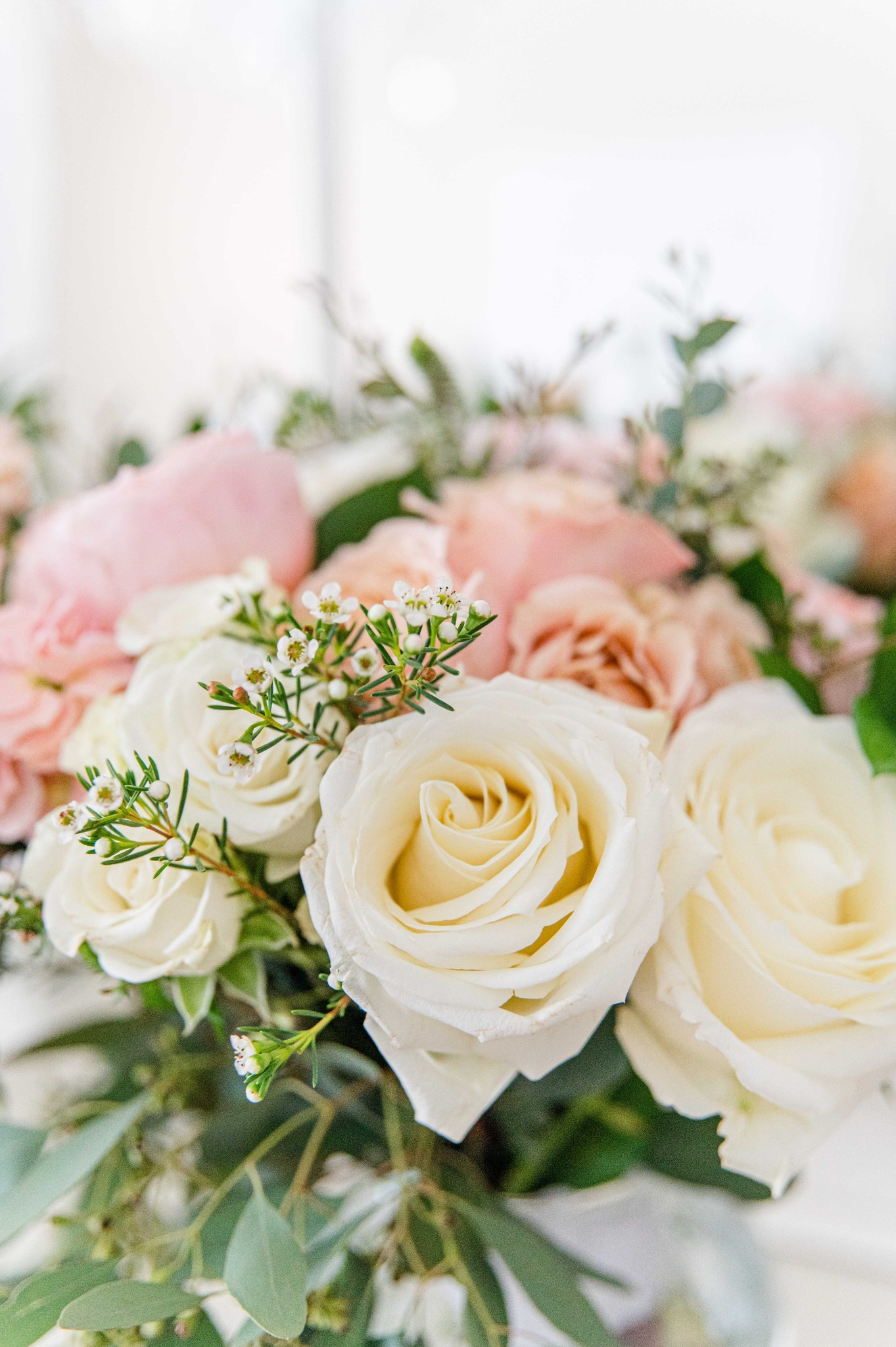 Pink and white wedding roses