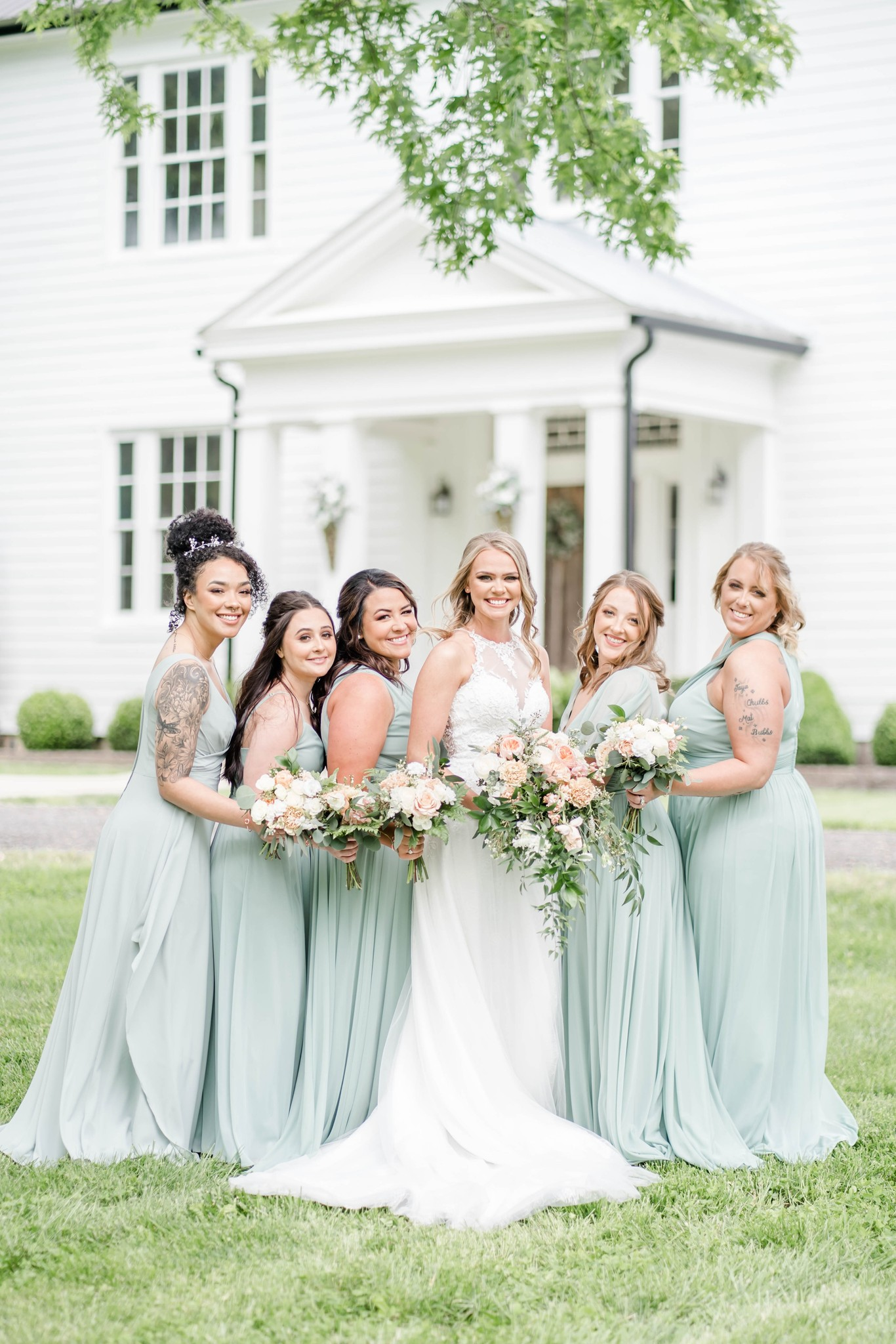 Long sage green bridesmaids dresses