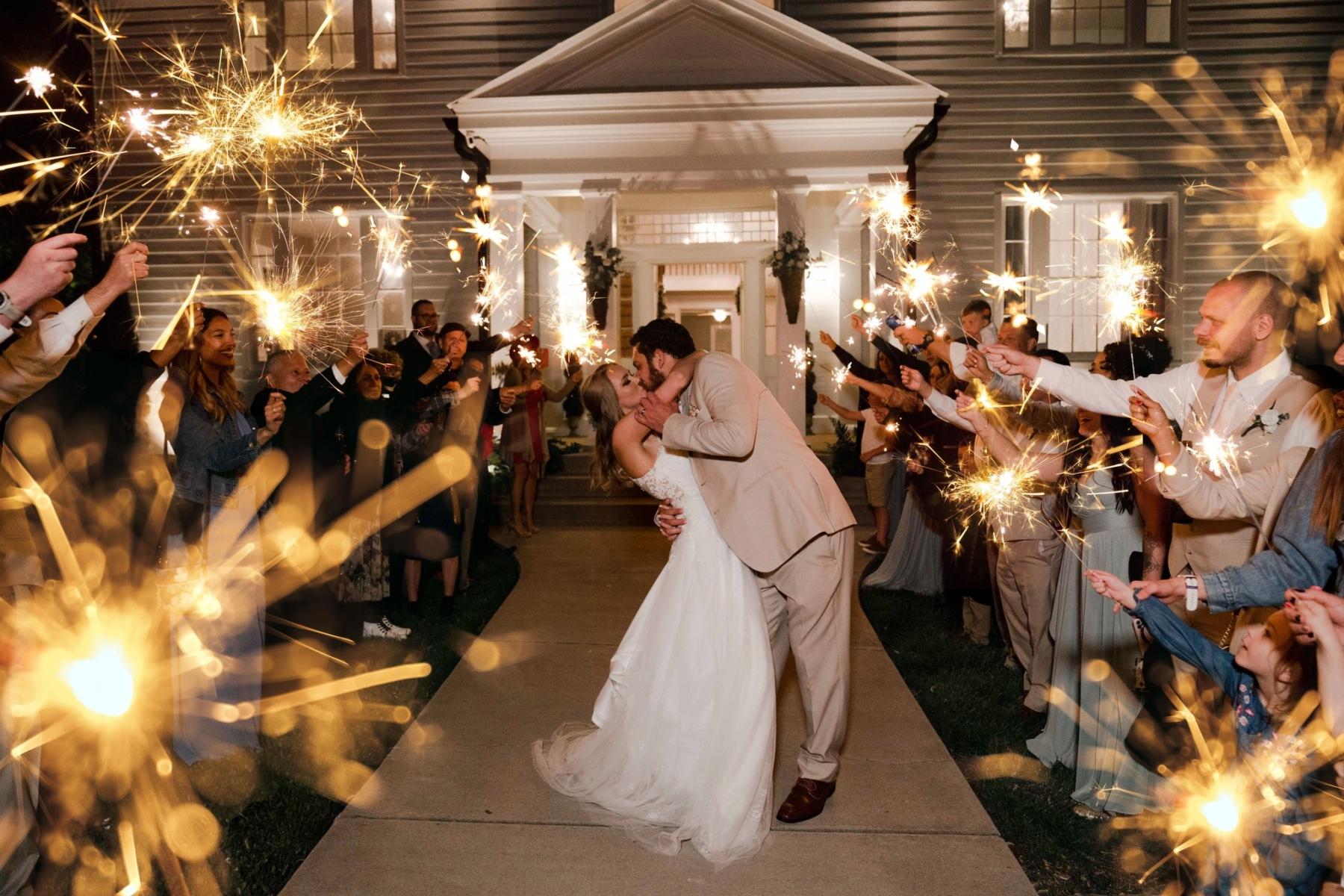 Sparkler wedding exit at Briar Rose Hill