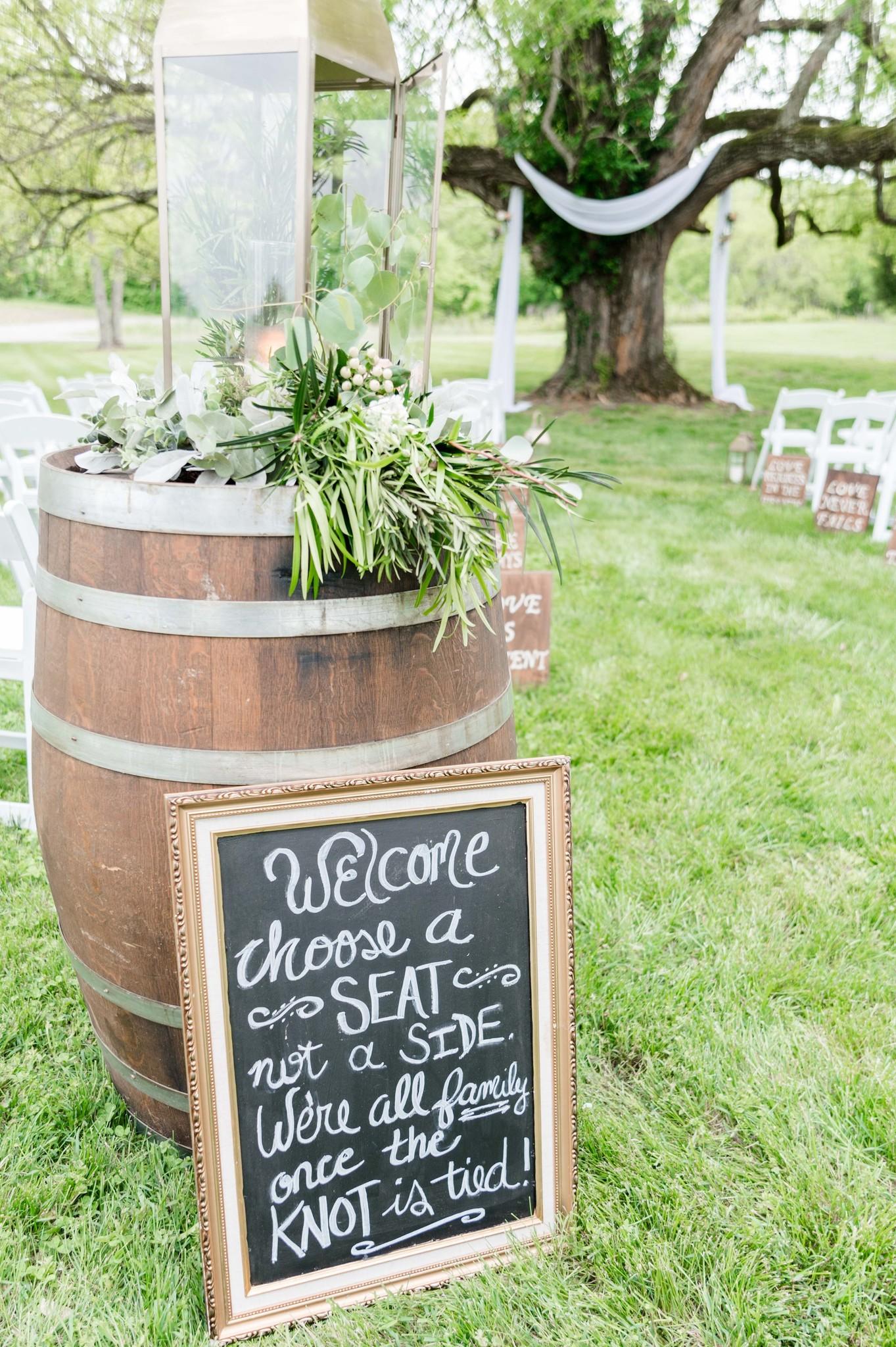 Rustic outdoor wedding ceremony sign