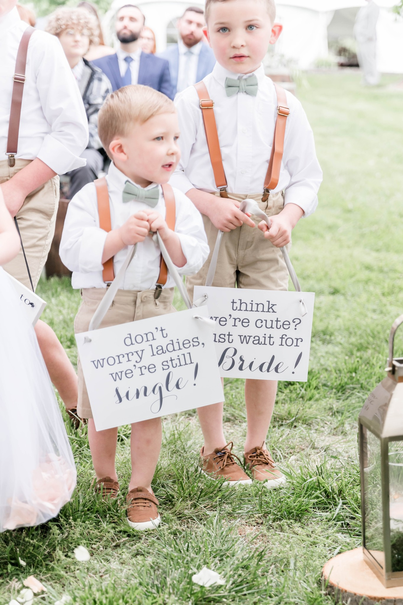 Ring bearer here comes the bride wedding signs
