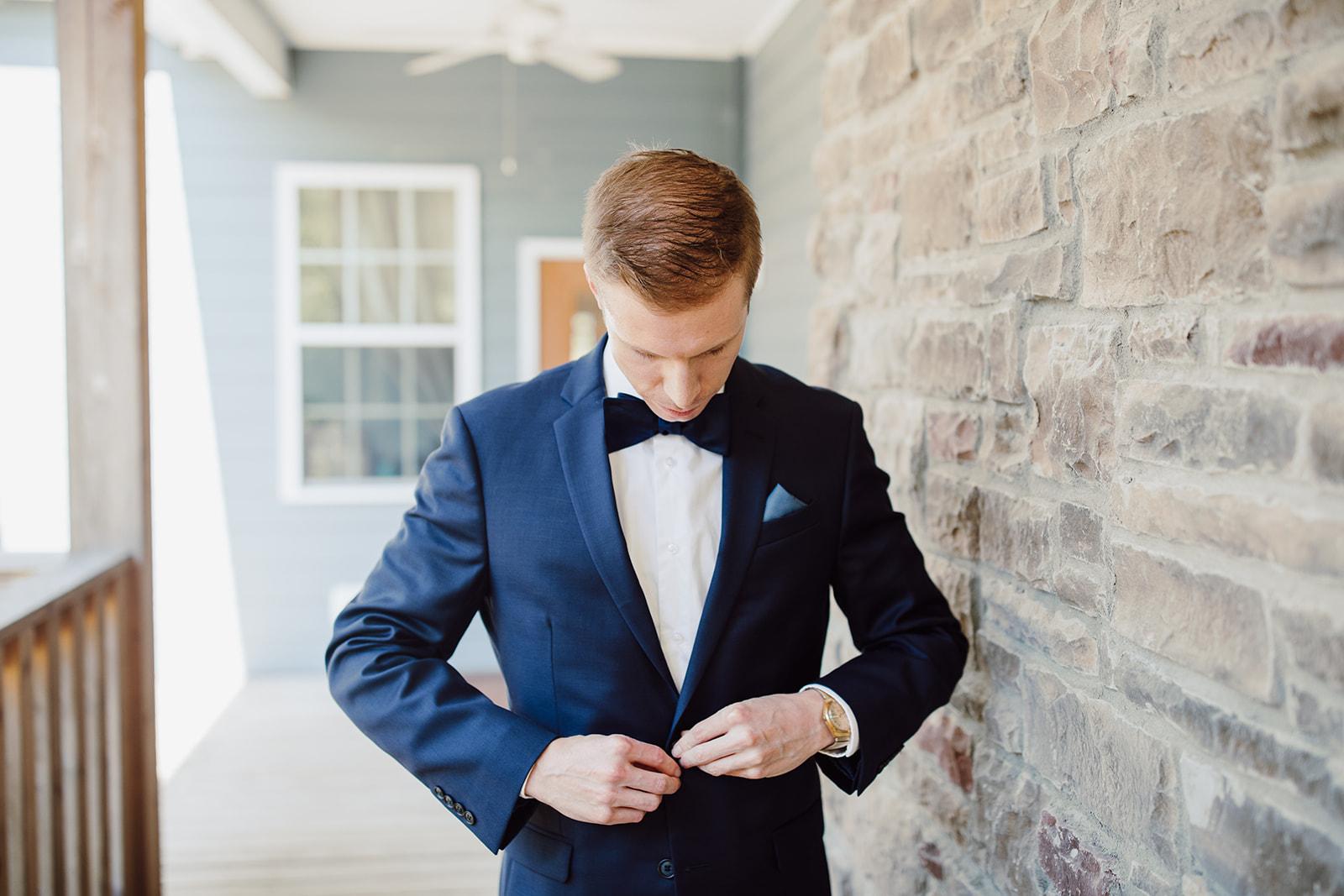 Blue wedding tuxedo with bowtie