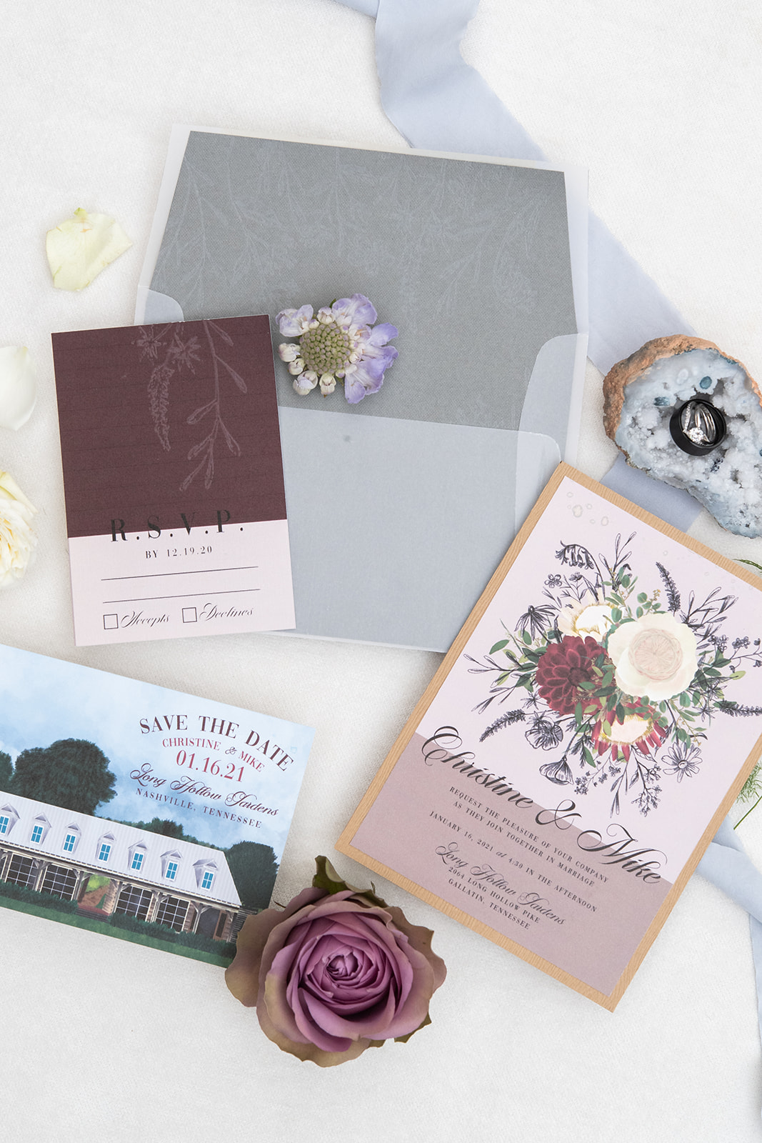 Fanciful Ink Floral Wedding Invitations