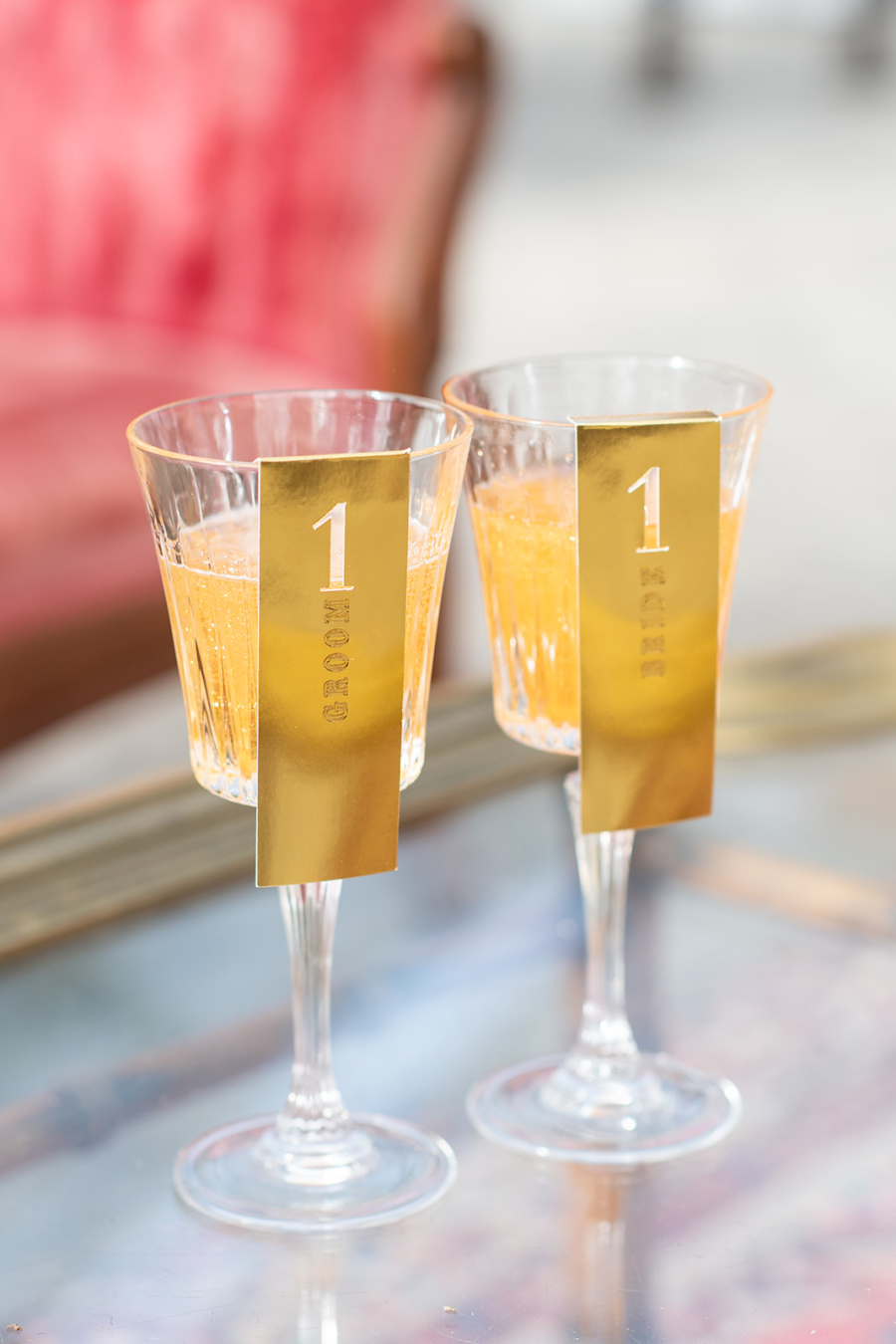 Gold wedding drink escort card ideas