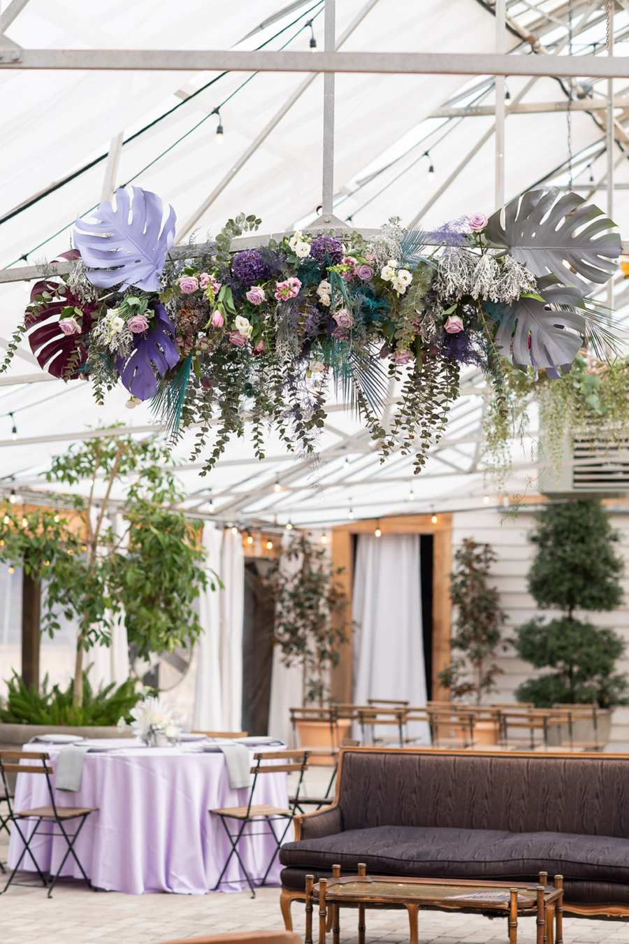Colorful hanging floral installation