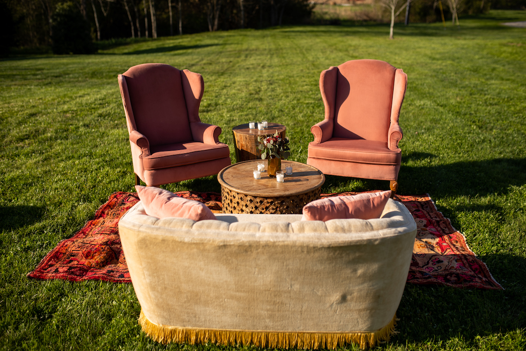Vintage wedding outdoor seating