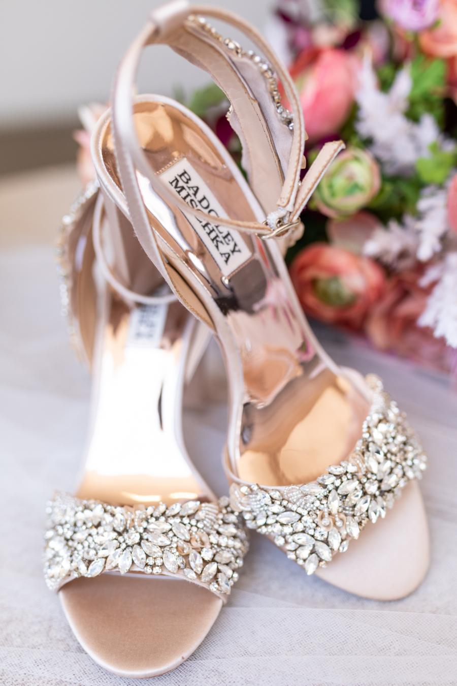 Embellished Badgley Mischka wedding shoes