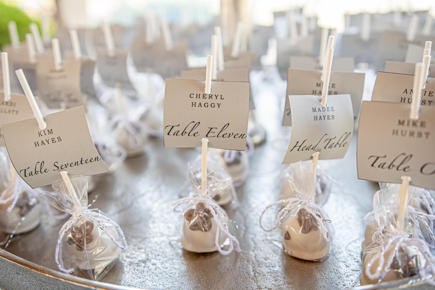 Dessert wedding escort cards