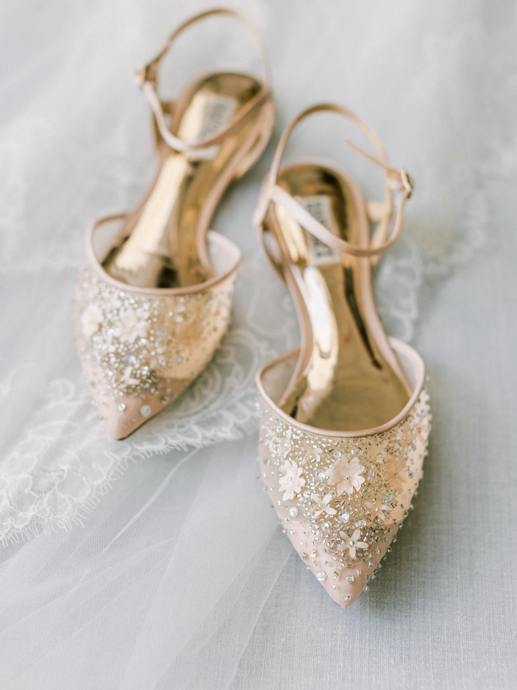 Embellished Badgley Mischka bridal shoes