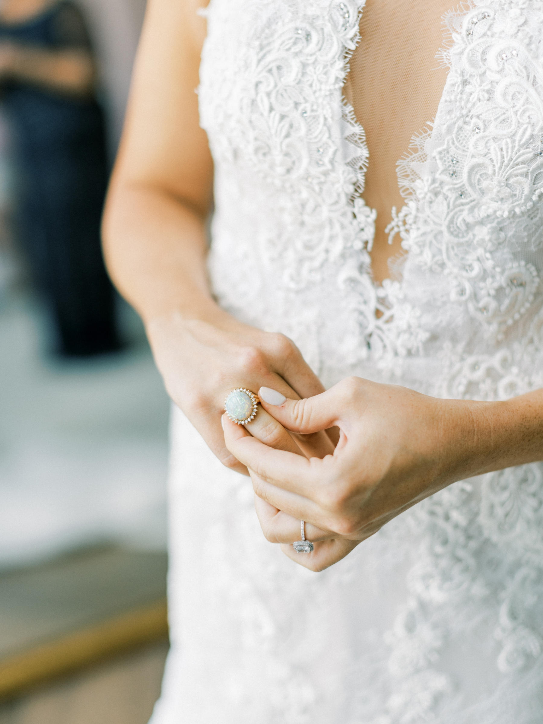 Lace wedding dress and accessories