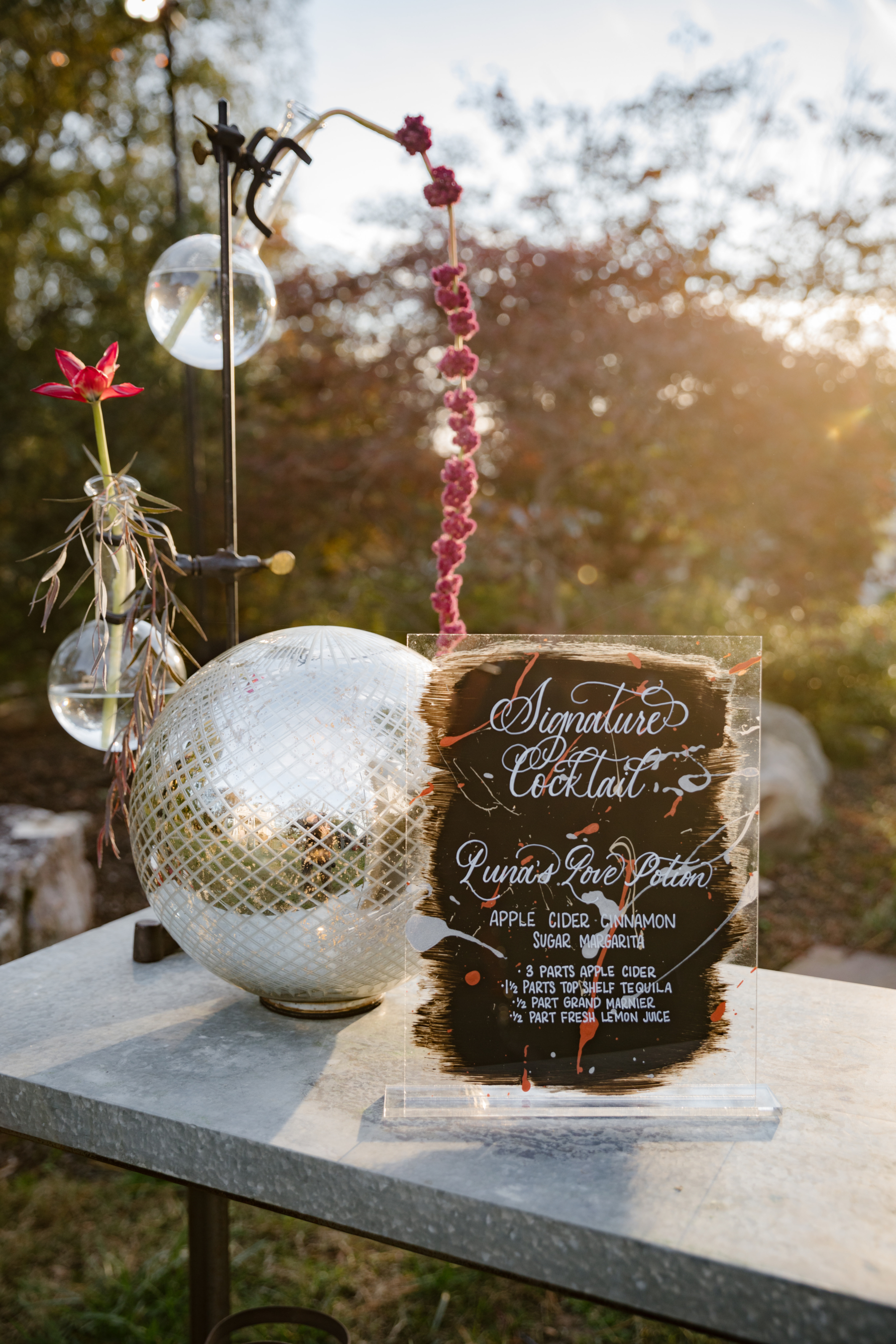 Acrylic signature cocktail wedding sign