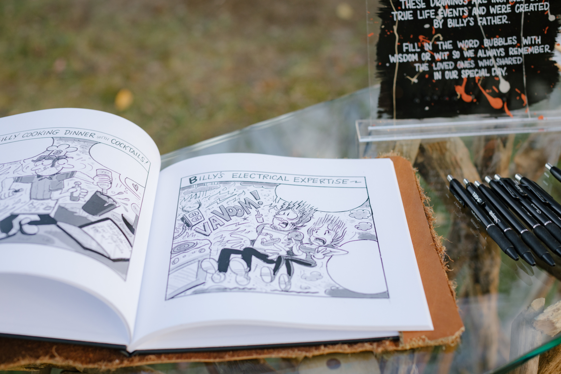 Personalized comic wedding guest book