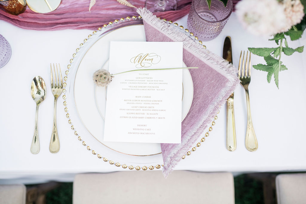 White Ink Calligraphy wedding menu design