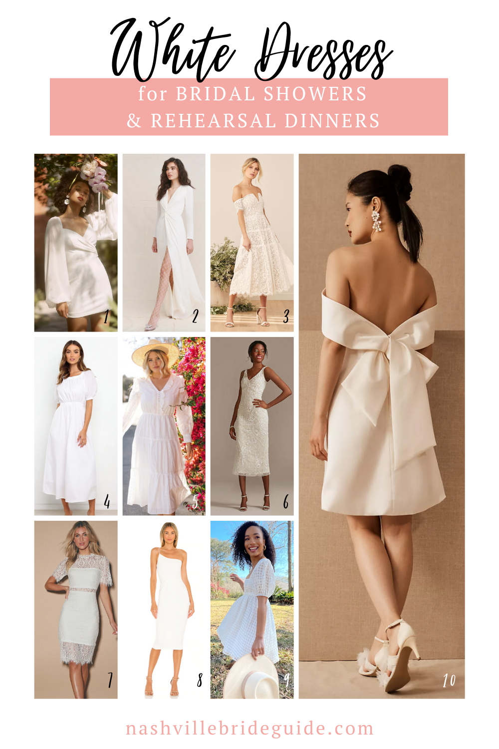 The Best White Dresses for Bridal Showers and Rehearsal Dinners