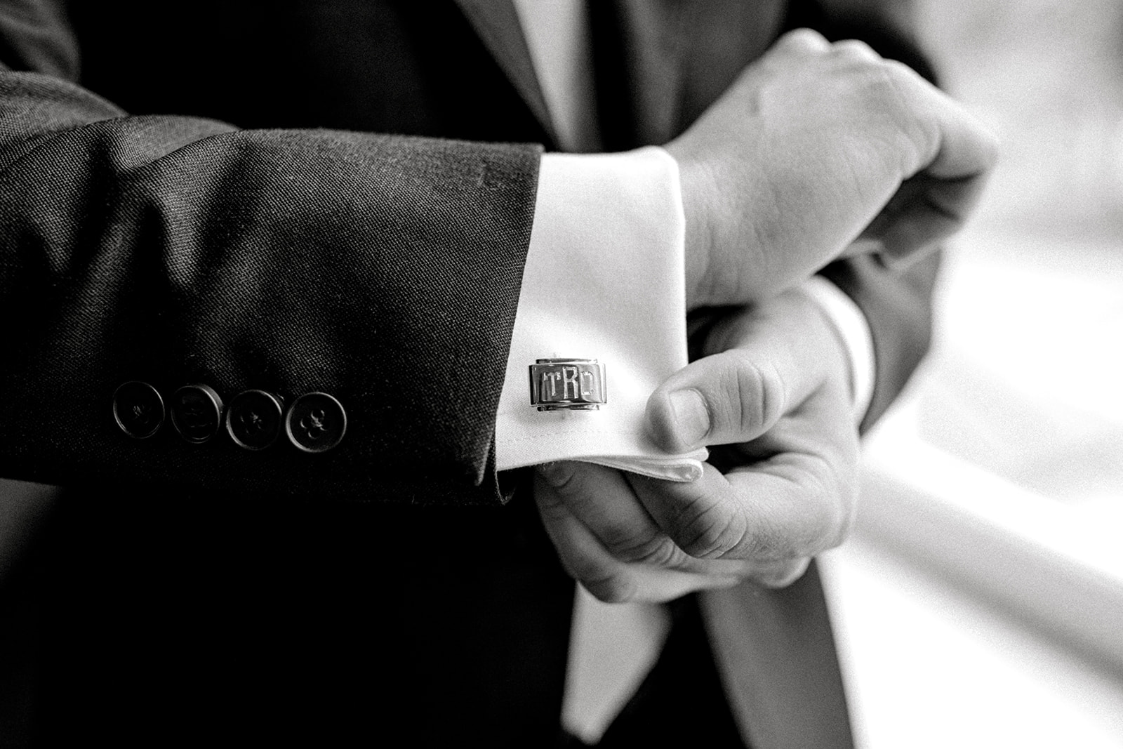 Monogrammed wedding cuff links