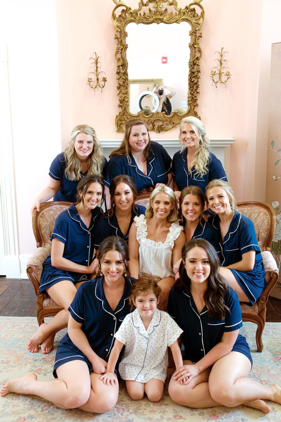 Blue bridal party getting ready pajamas