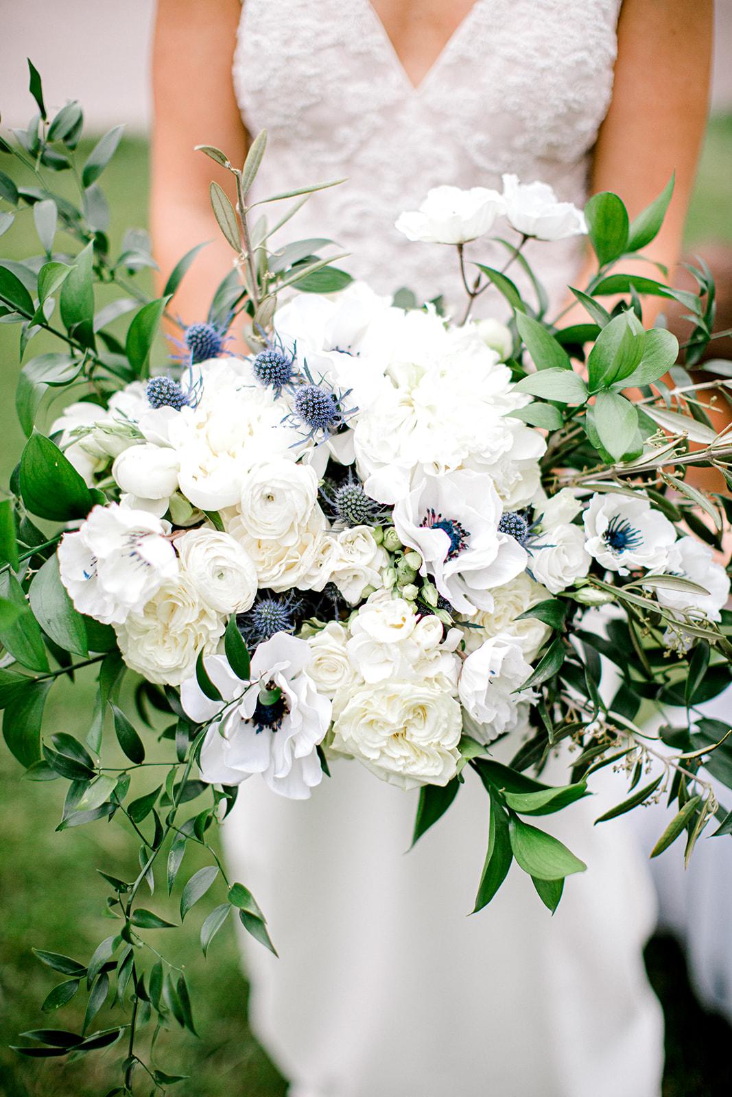 Blue thistle wedding bouquet