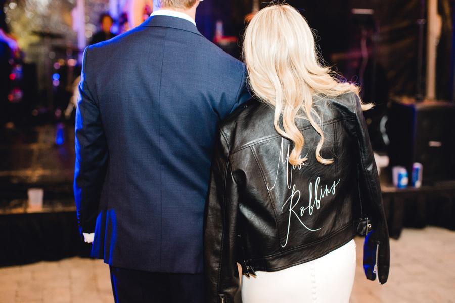 Custom leather bridal jacket