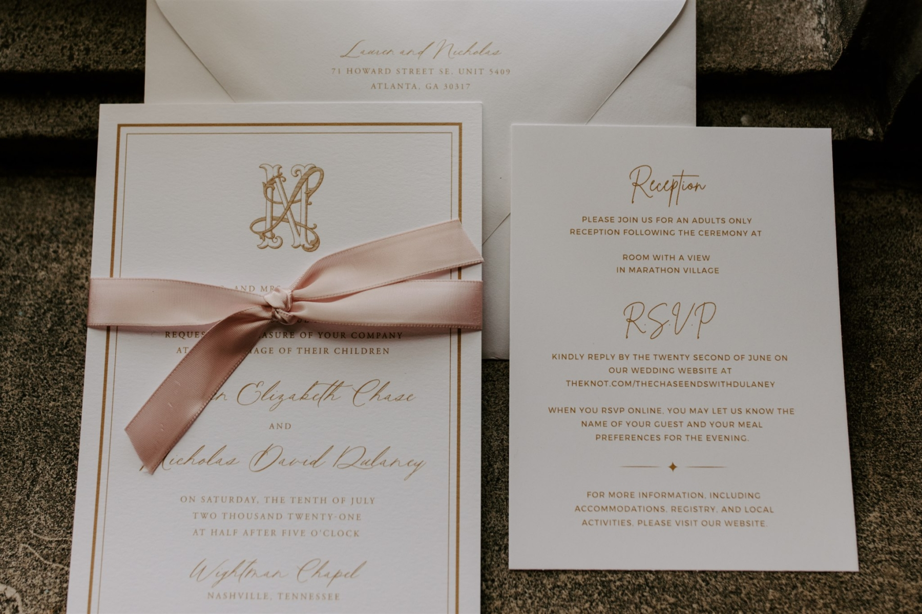 Pink and gold wedding stationery by Betty Lu Paperie