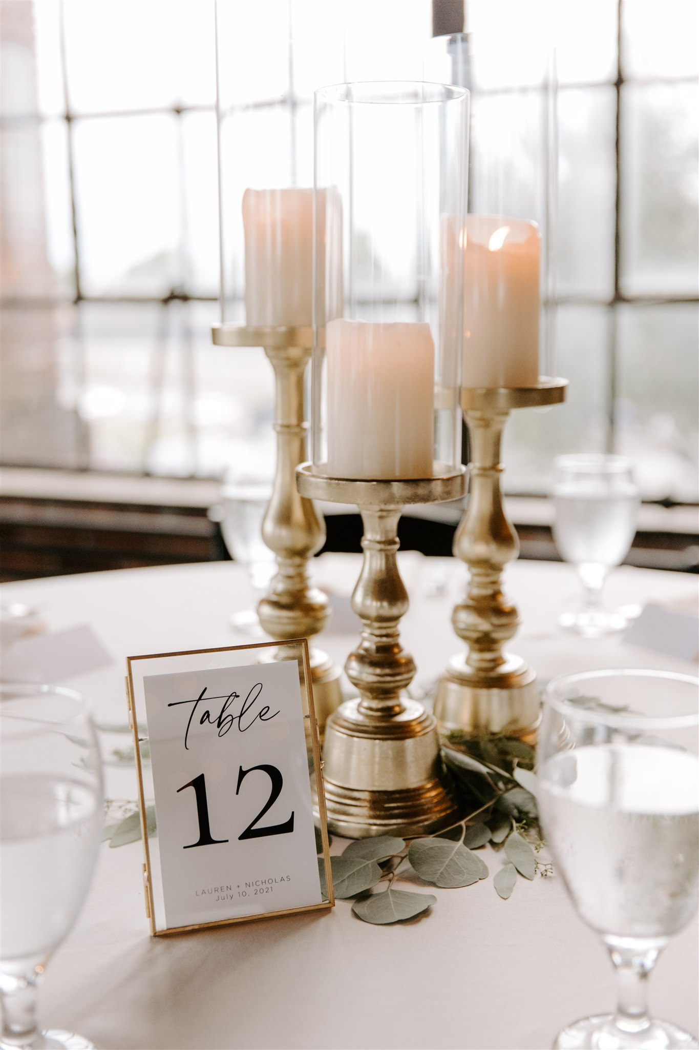 Elevated candle wedding centerpieces