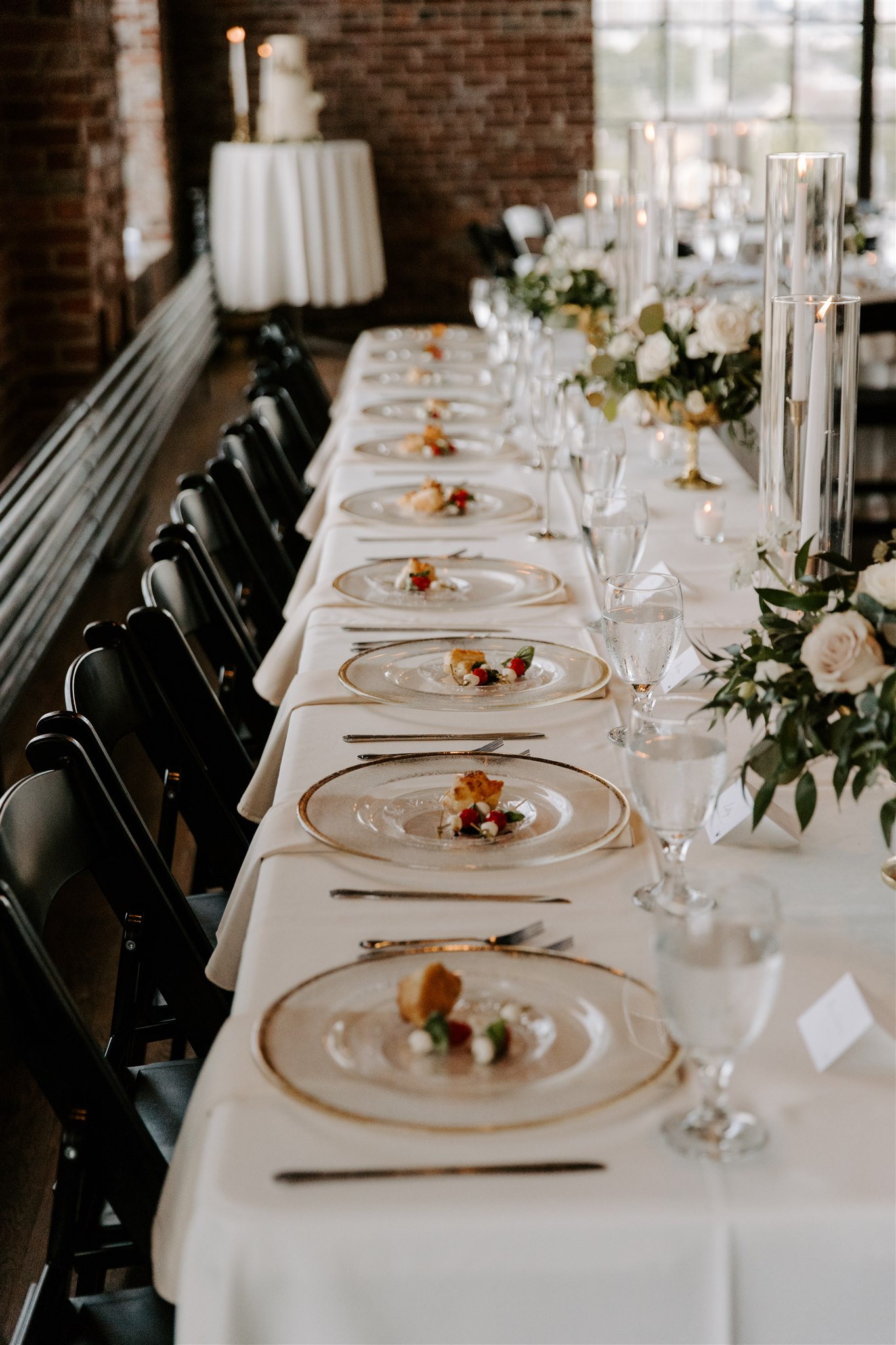 Family style wedding tablescape