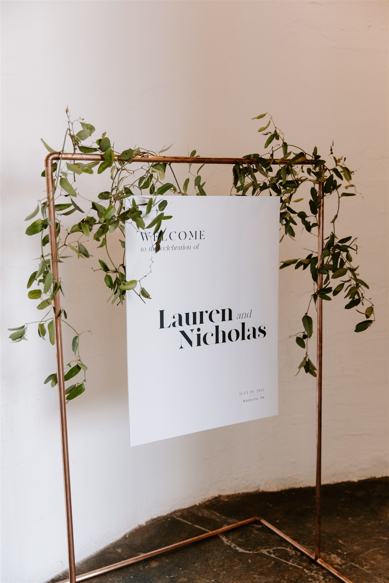 Industrial wedding welcome sign