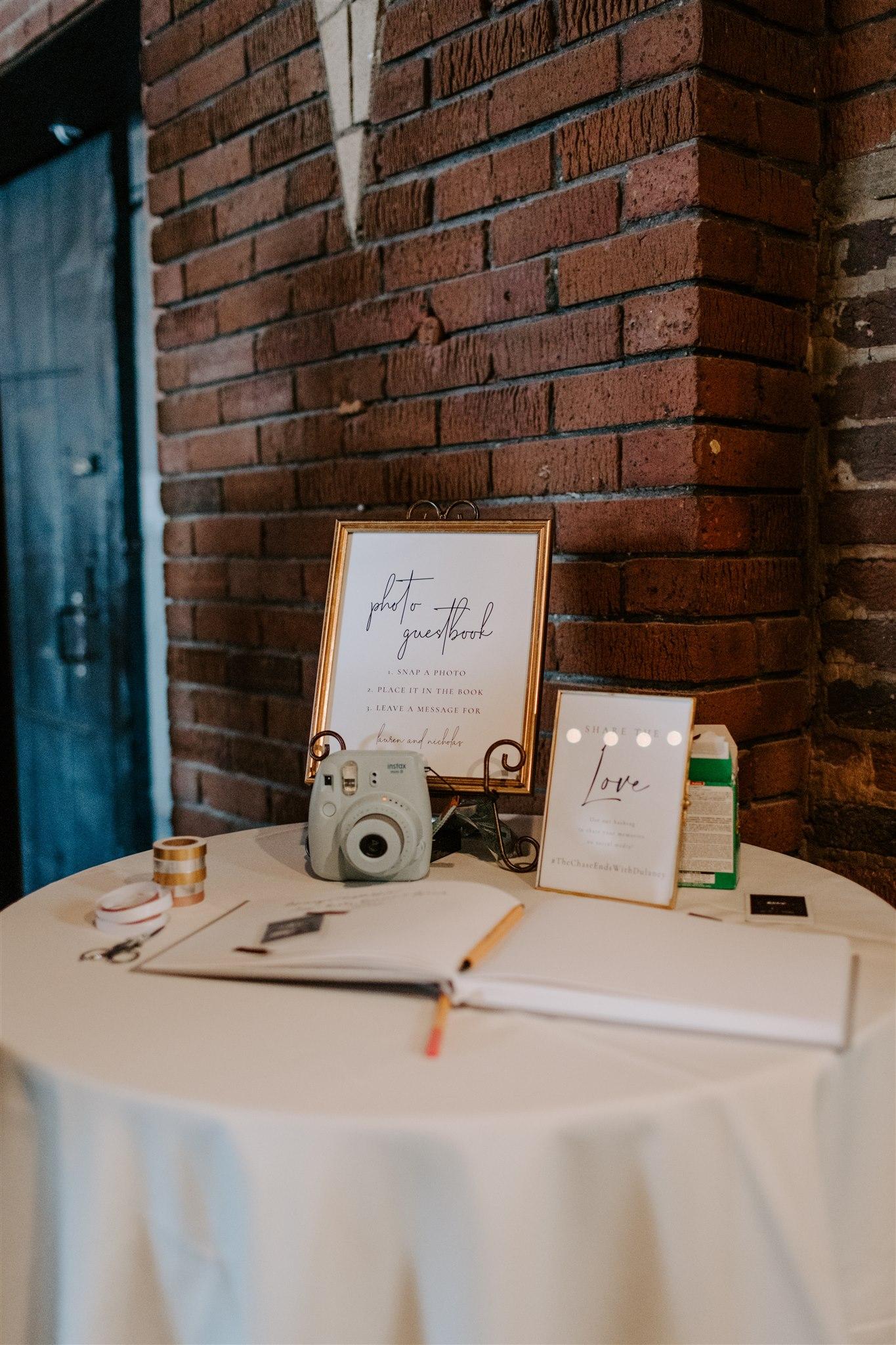 Polaroid wedding guest book