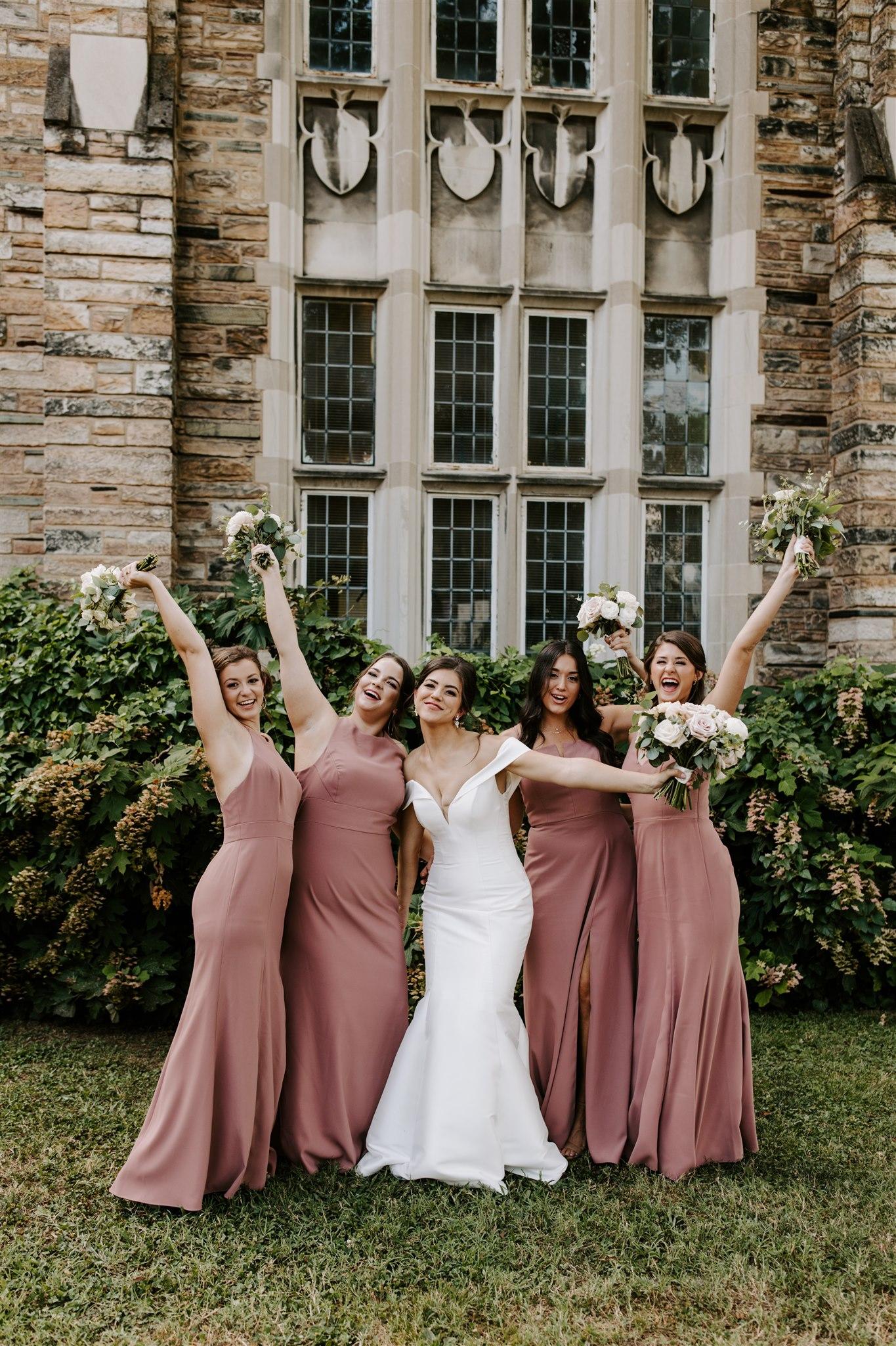 Mauve pink bridesmaids dresses