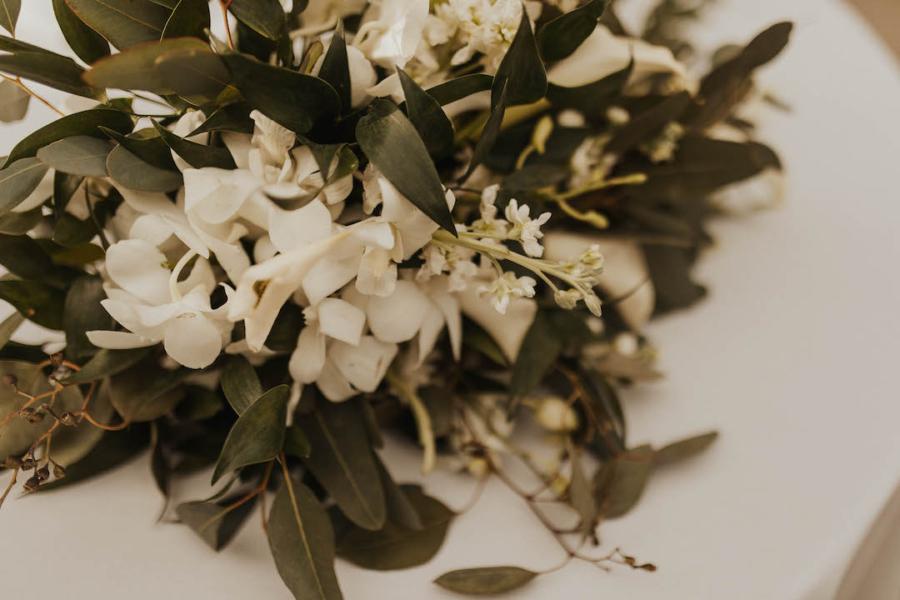 White and greenery wedding flowers